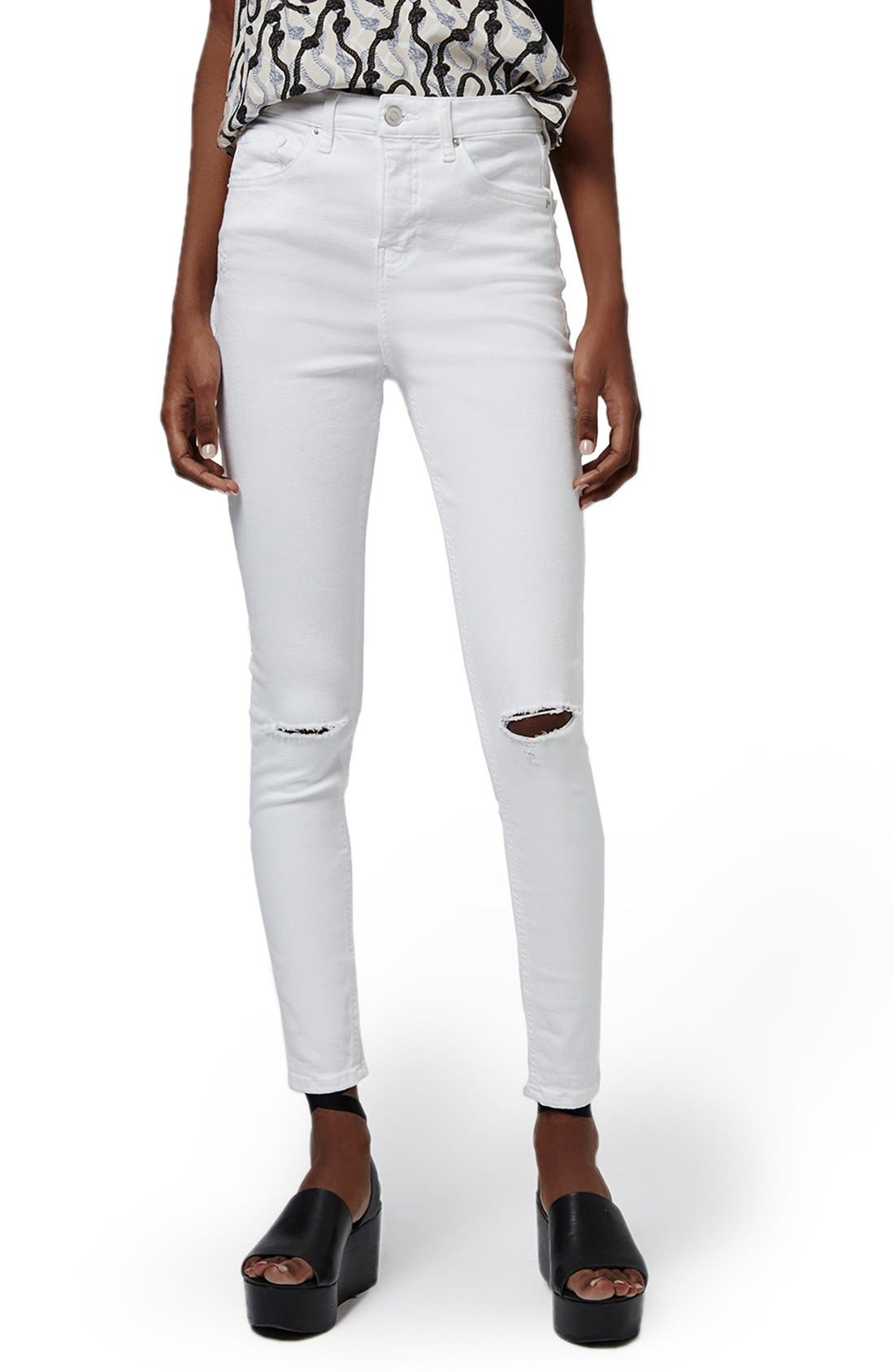 Alternate Image 1 Selected - Topshop 'Jamie' Ripped High Rise Ankle Skinny Jeans
