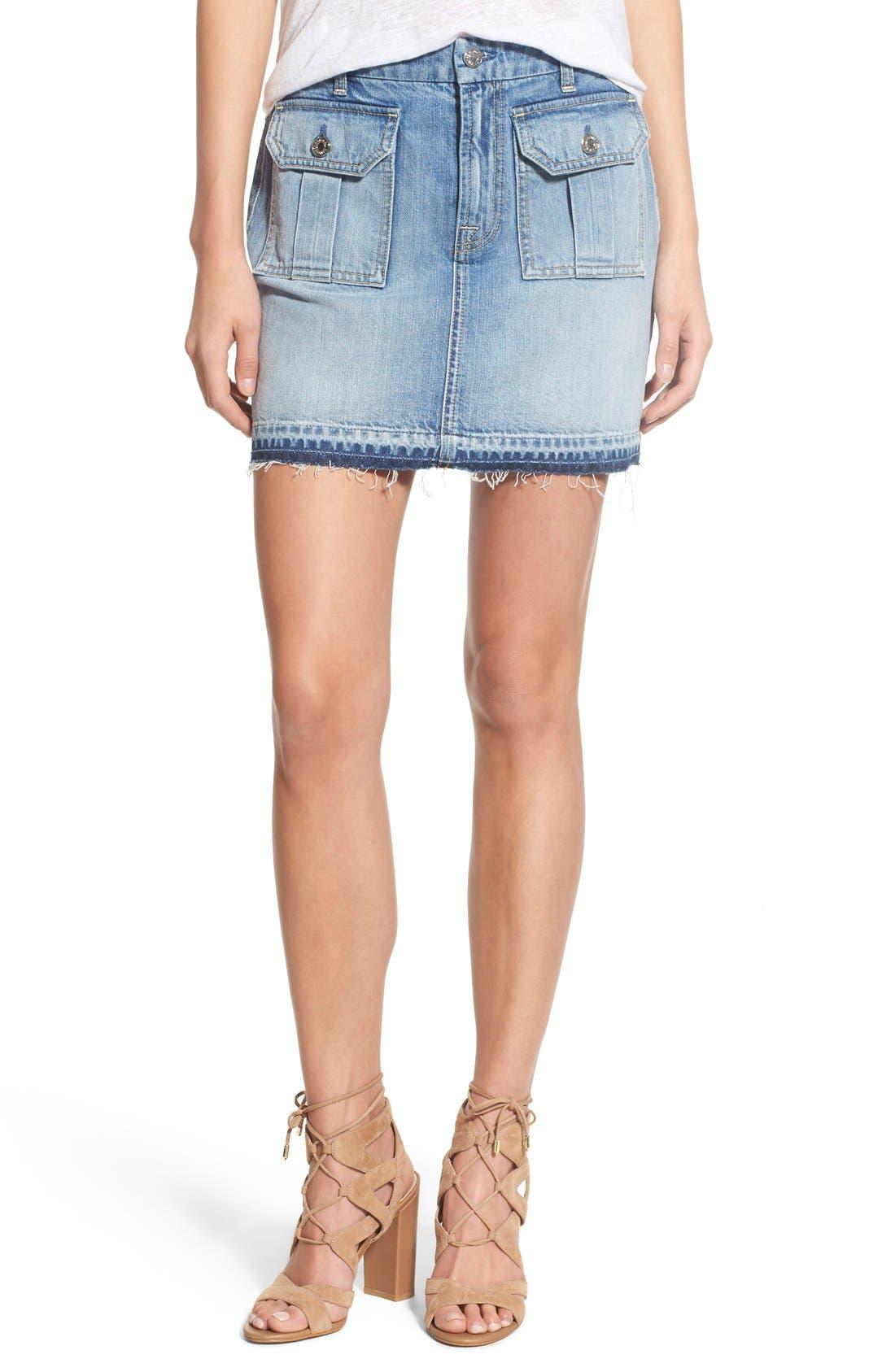Main Image - 7 For All Mankind® Utility Pocket Denim Miniskirt (Vintage Coronado Springs)
