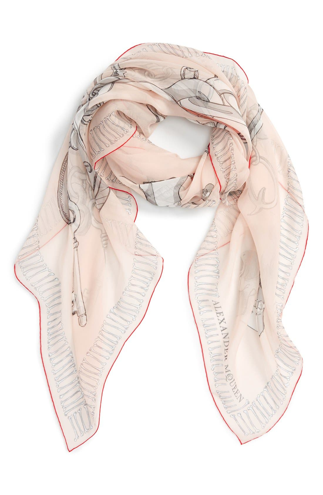 Alternate Image 1 Selected - Alexander McQueen 'Chunky Charms' Silk Chiffon Scarf