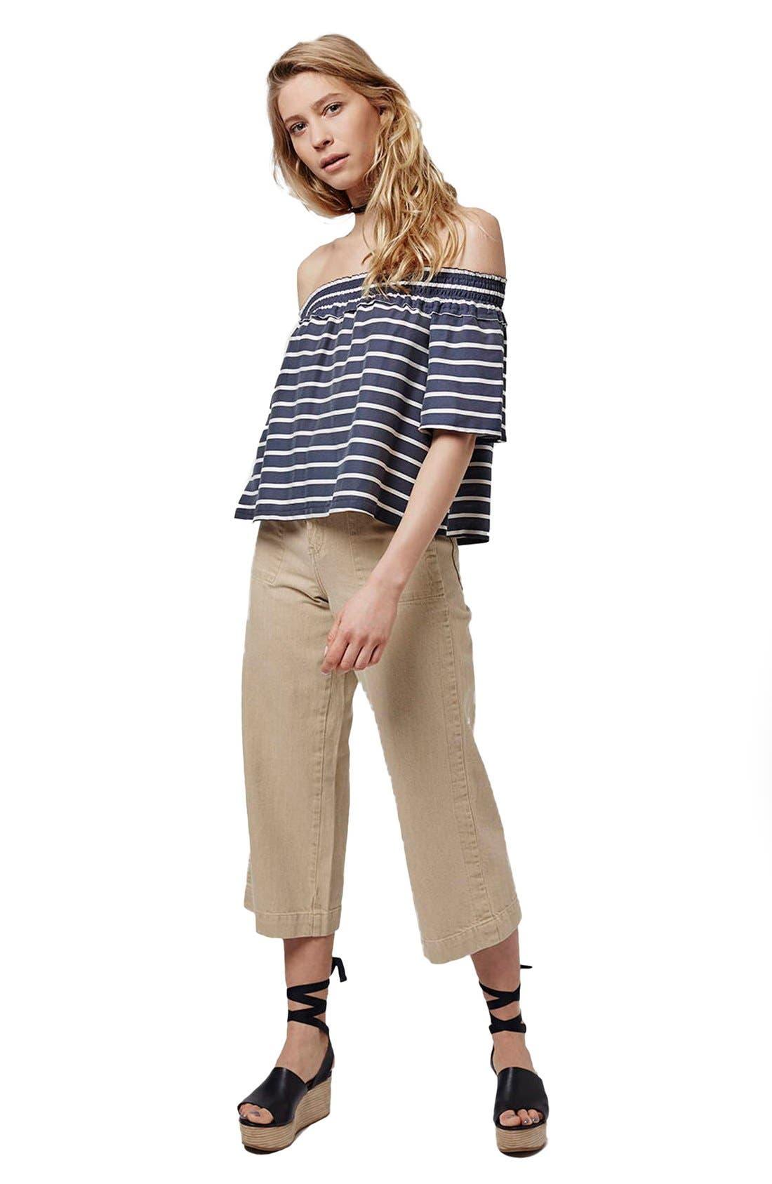 Alternate Image 2  - Topshop 'Bardot' Stripe Smock Off the Shoulder Top