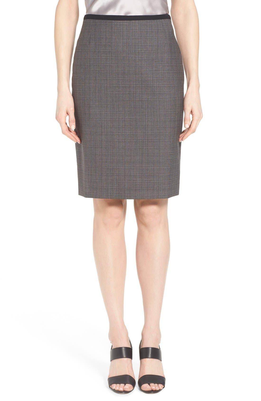 Main Image - BOSS 'Vanya' Check Stretch Wool Suit Skirt