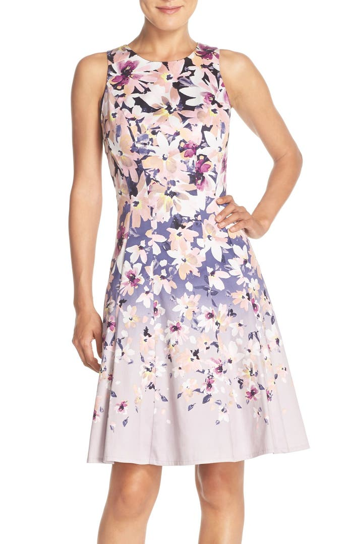 Maggy London Floral Sateen Fit Amp Flare Dress Regular