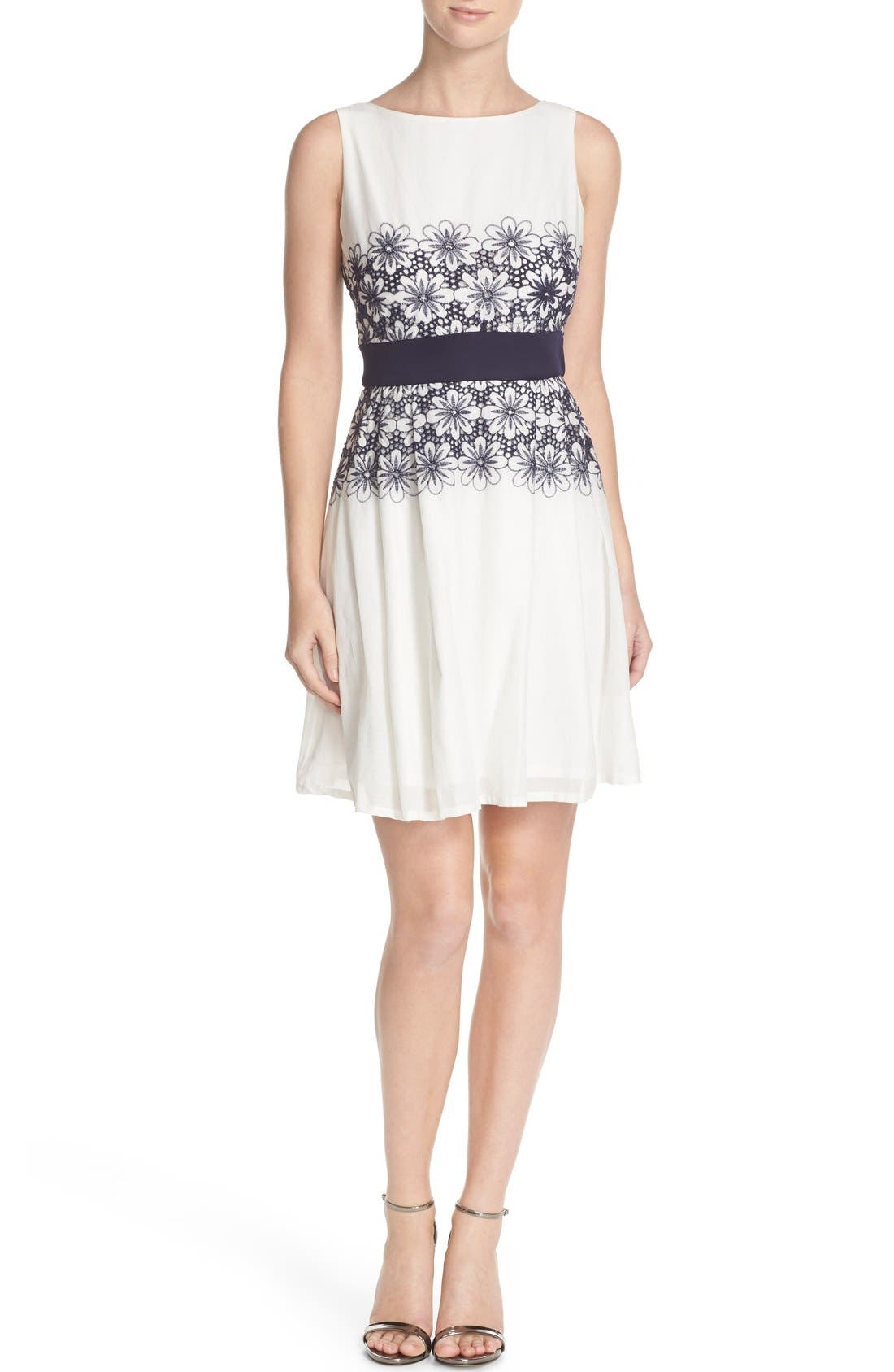 Alternate Image 4  - Taylor Dresses Embroidered Fit & Flare Dress