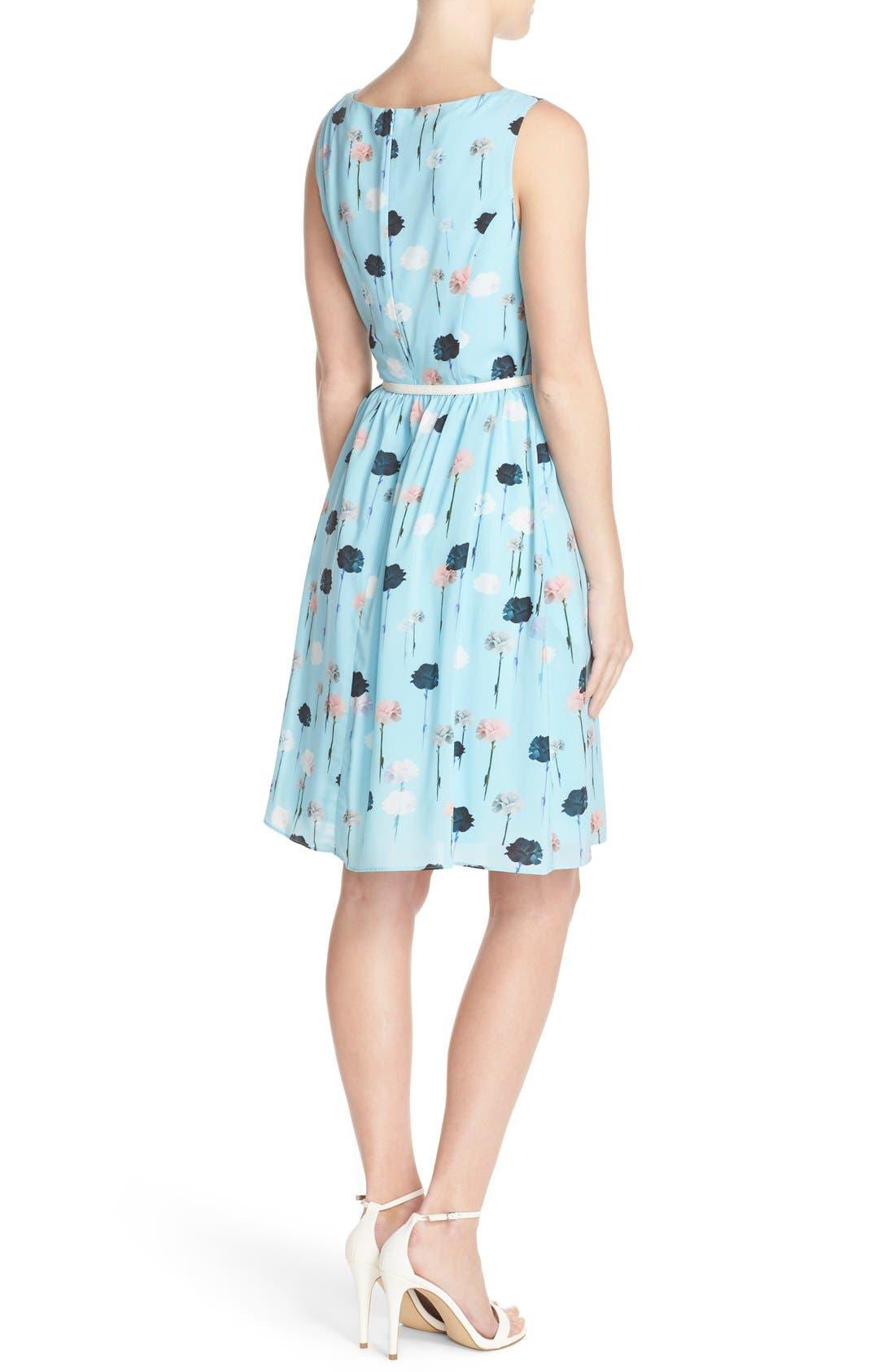 Alternate Image 2  - Adrianna Papell Carnation Print Fit & Flare Dress (Regular & Petite)