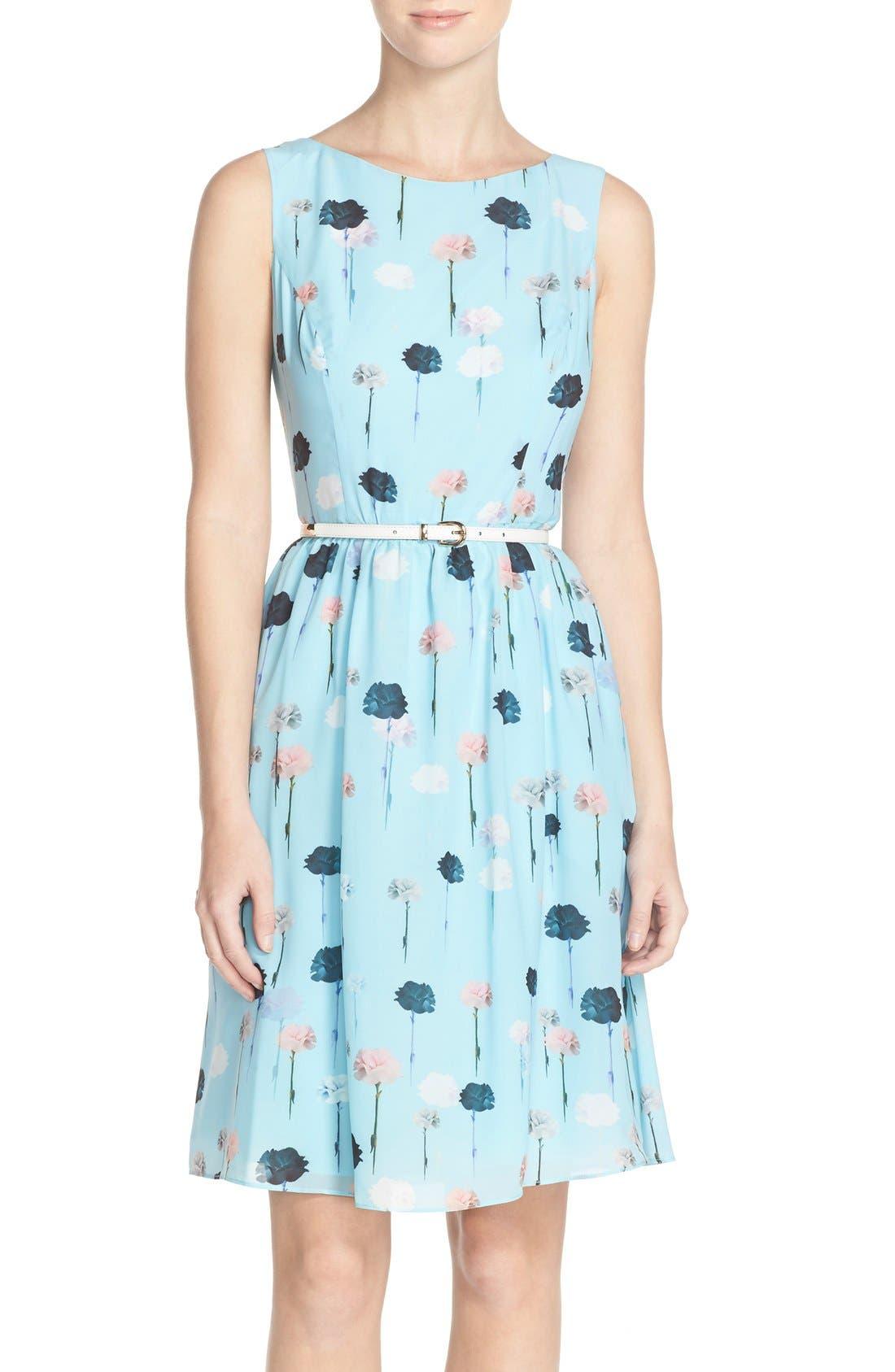 Alternate Image 1 Selected - Adrianna Papell Carnation Print Fit & Flare Dress (Regular & Petite)