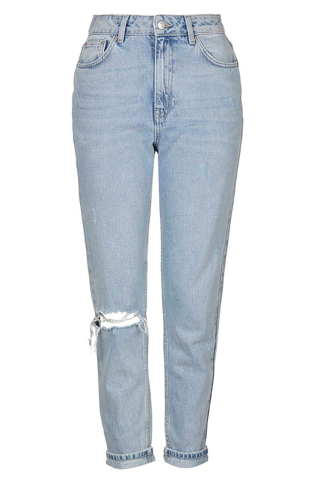 Alternate Image 4  - Topshop High Rise Ripped Mom Jeans (Regular & Petite)