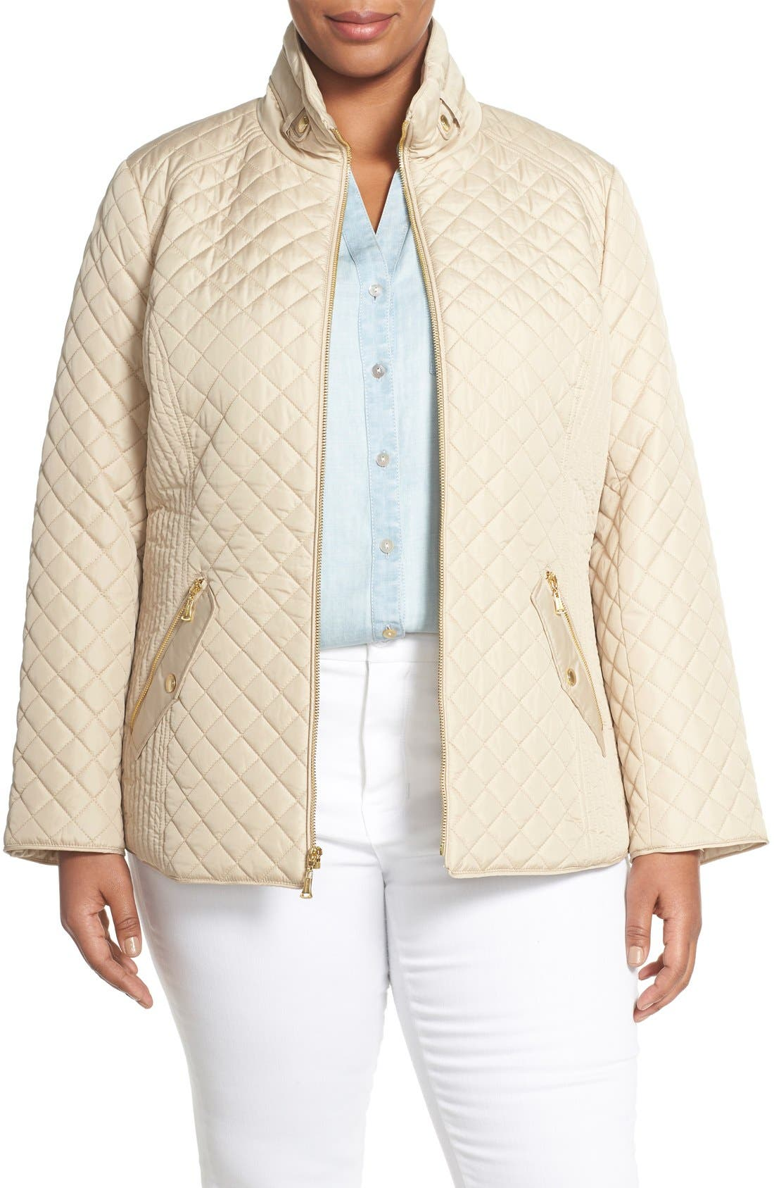 Ellen Tracy Zip Front Quilted Jacket (Plus Size)