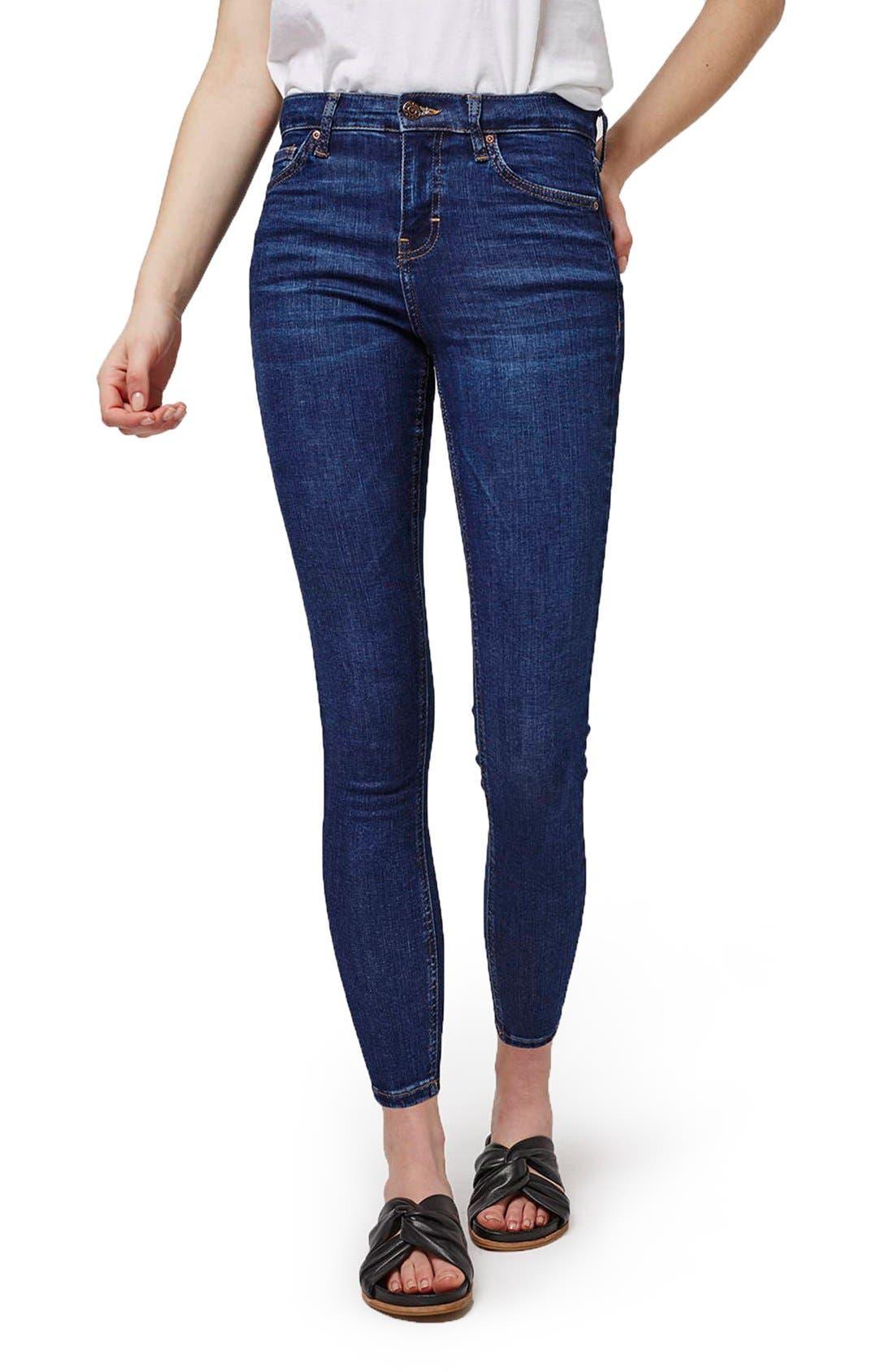 Alternate Image 1 Selected - Topshop 'Jamie' High Rise Ankle Skinny Jeans (Petite)