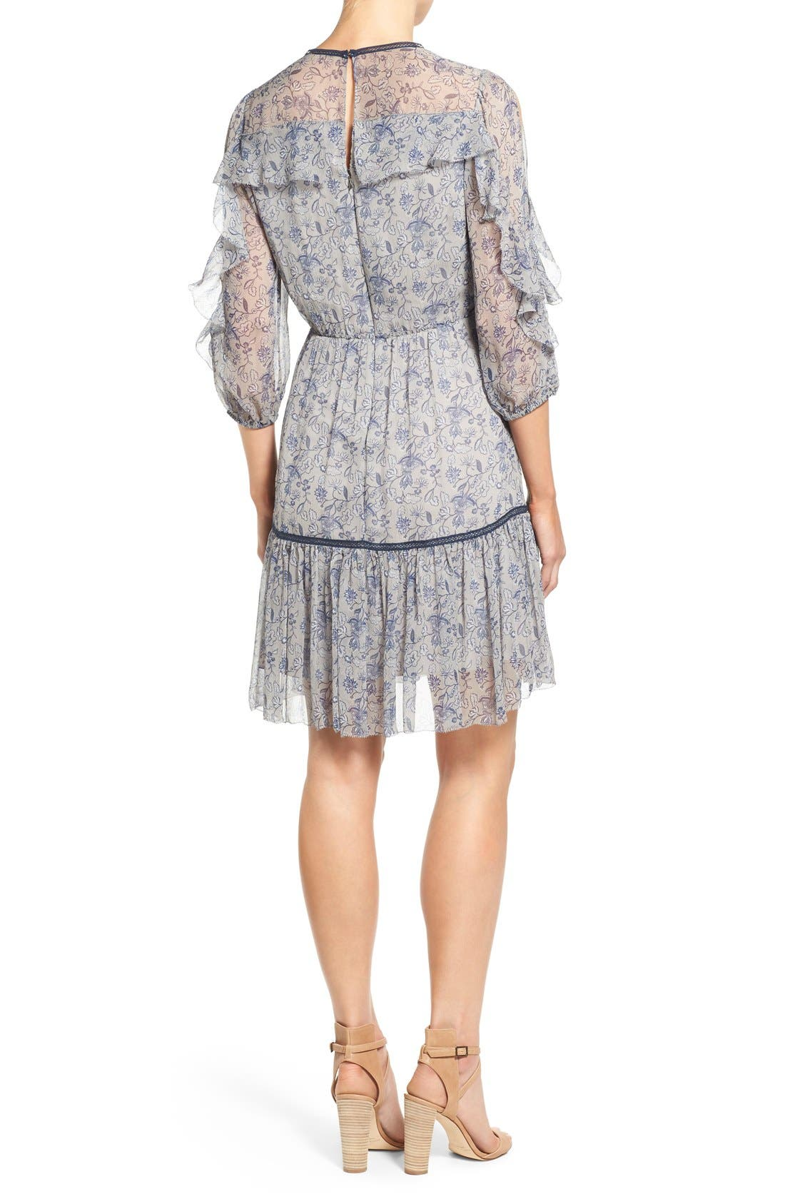 Alternate Image 2  - Elie Tahari 'Landon' Ruffle Trim A-Line Floral Print Silk Dress