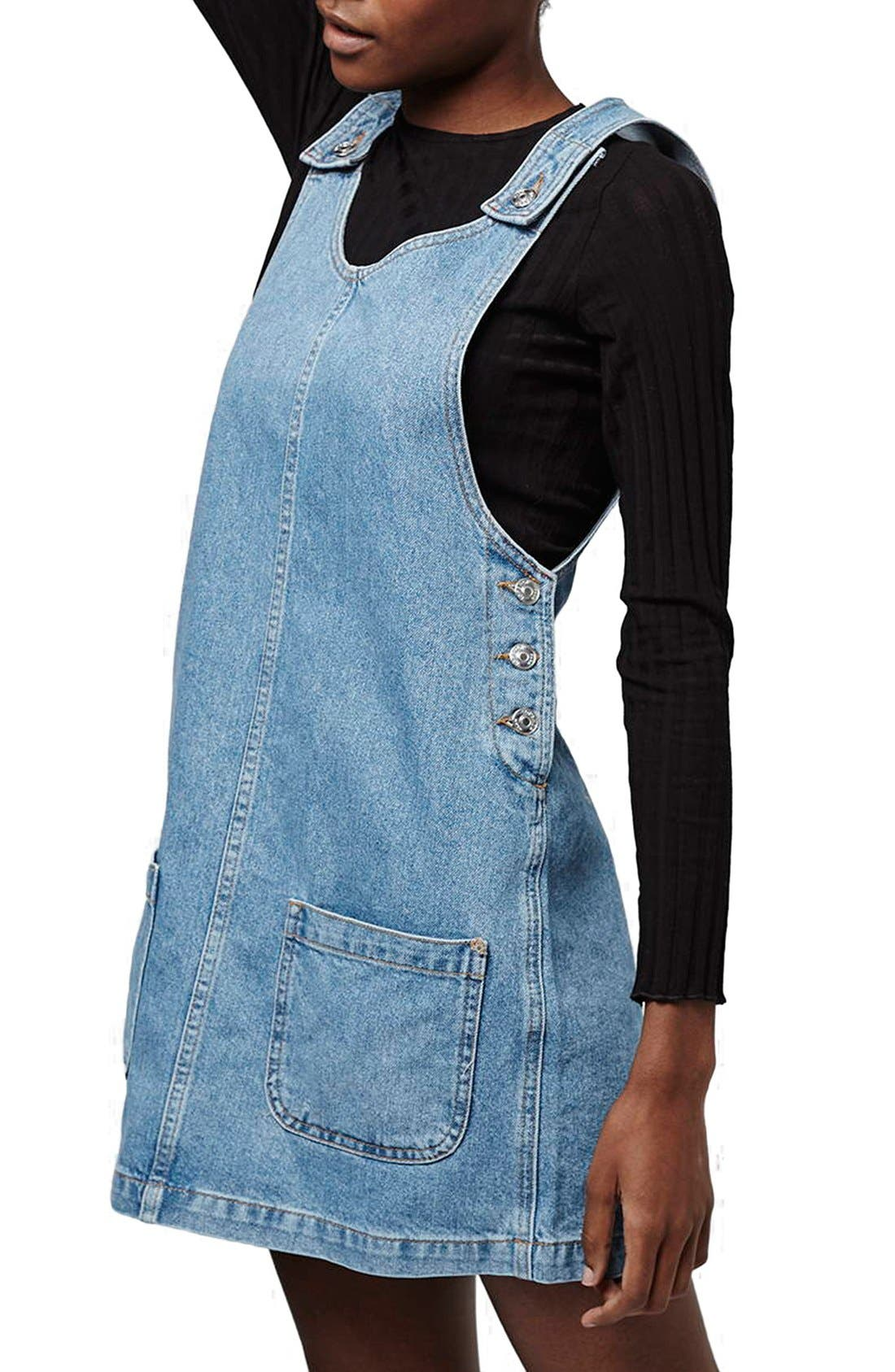 Alternate Image 1 Selected - Topshop Patch Pocket Denim Pinafore Dress