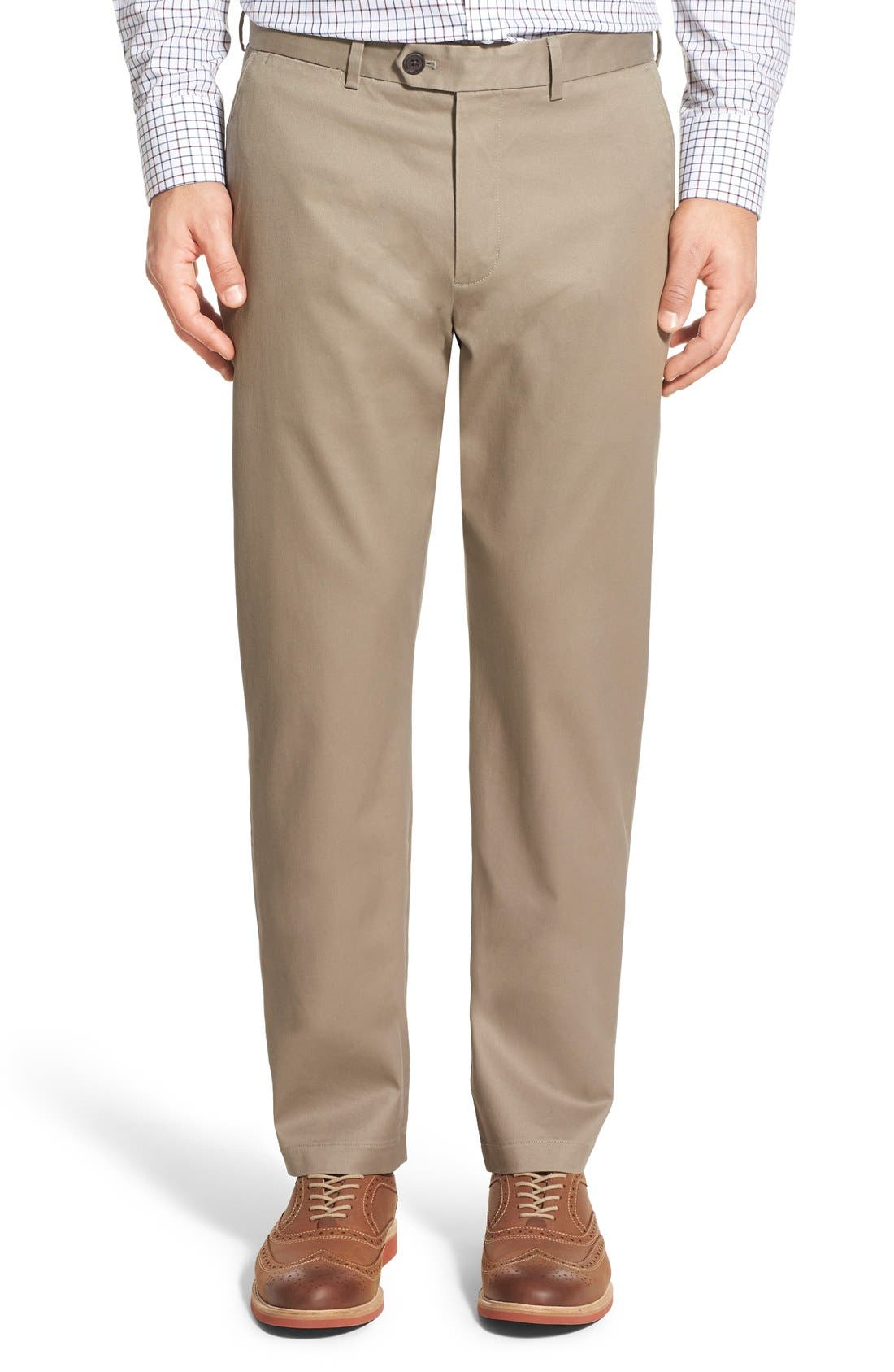 John W. Nordstrom® Non-Iron Smartcare™ Flat Front Stretch Cotton Pants