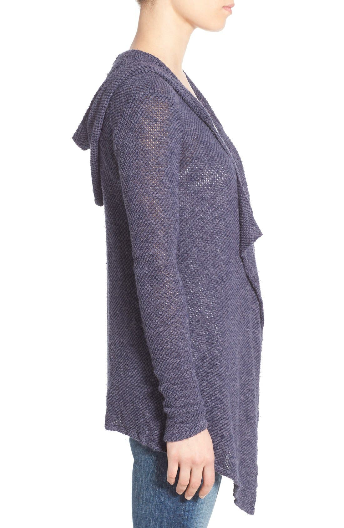 Alternate Image 3  - Velvet by Graham & Spencer Hooded Drape Front Cardigan