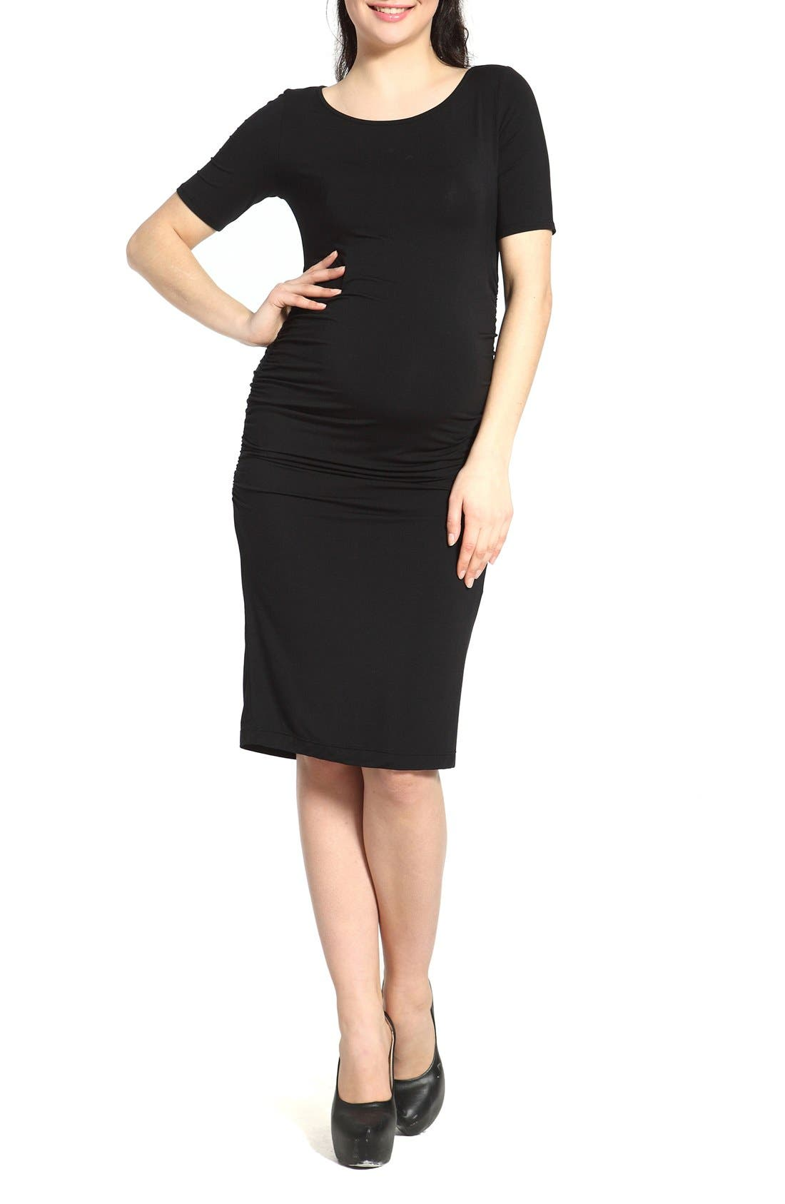 Kimi and Kai Demi Ruched Body-Con Maternity Dress