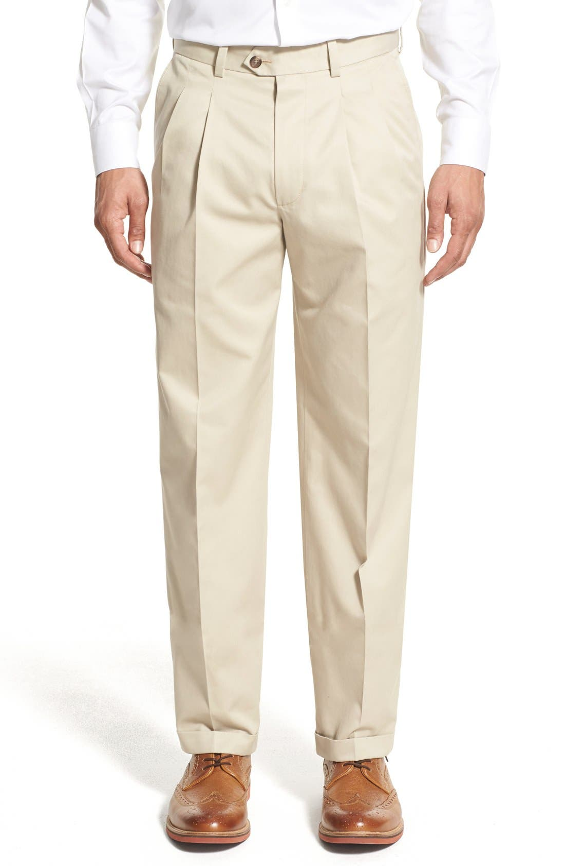 Nordstrom Men's Shop Classic Smartcare™ Supima® Cotton Pleated Trousers (Regular, Big & Tall)
