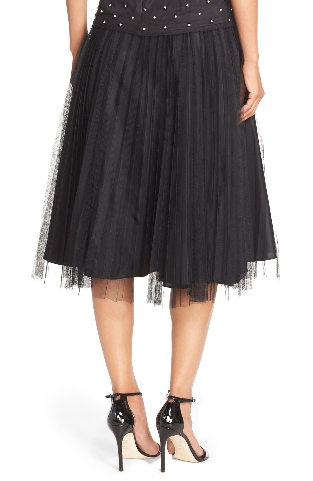 Alternate Image 3  - Adrianna Papell Pleated Tulle Midi Skirt
