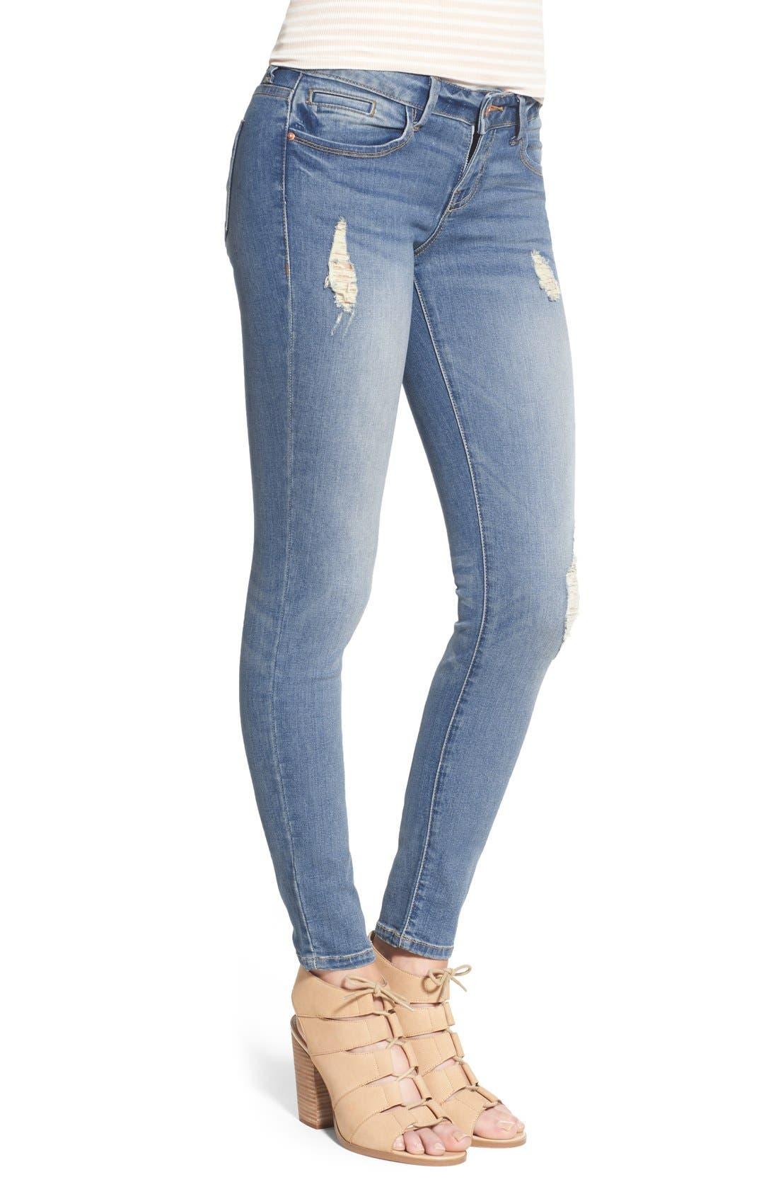 Alternate Image 3  - SP Black Distressed Skinny Jeans (Light Wash)