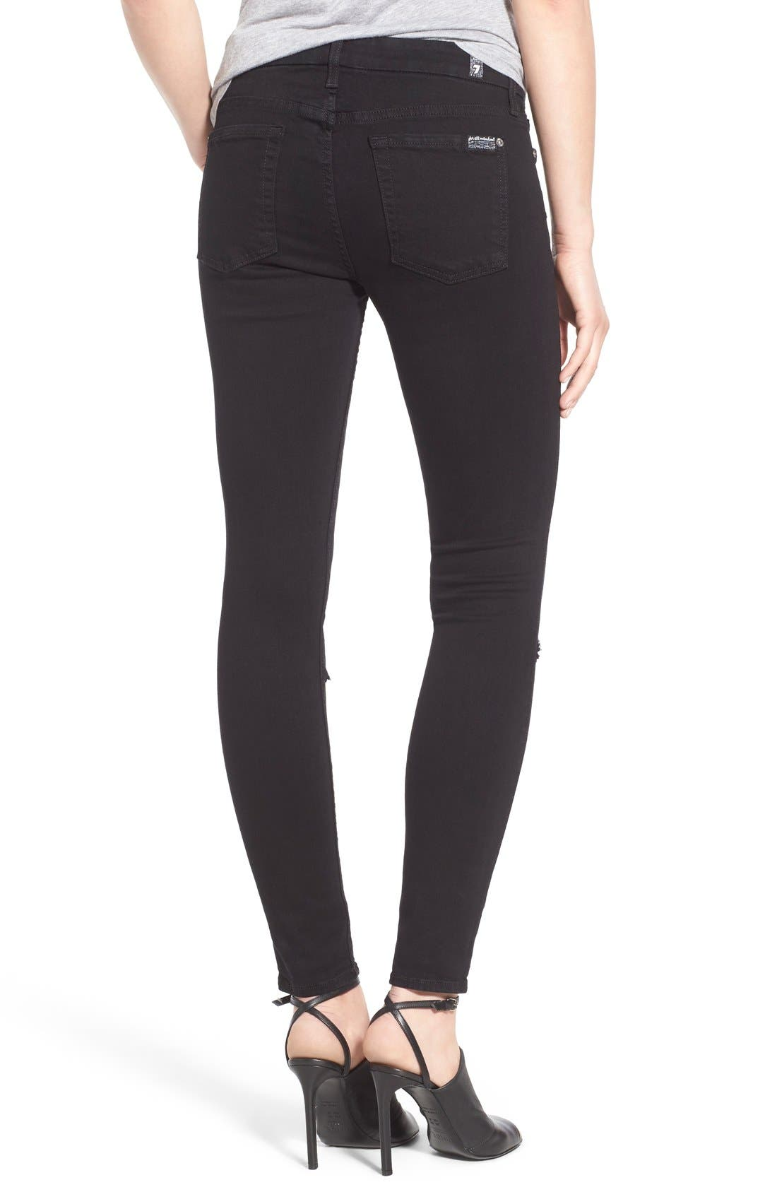 Alternate Image 2  - 7 For All Mankind® Destroyed Ankle Skinny Jeans (Slim Illusion Luxe Black)