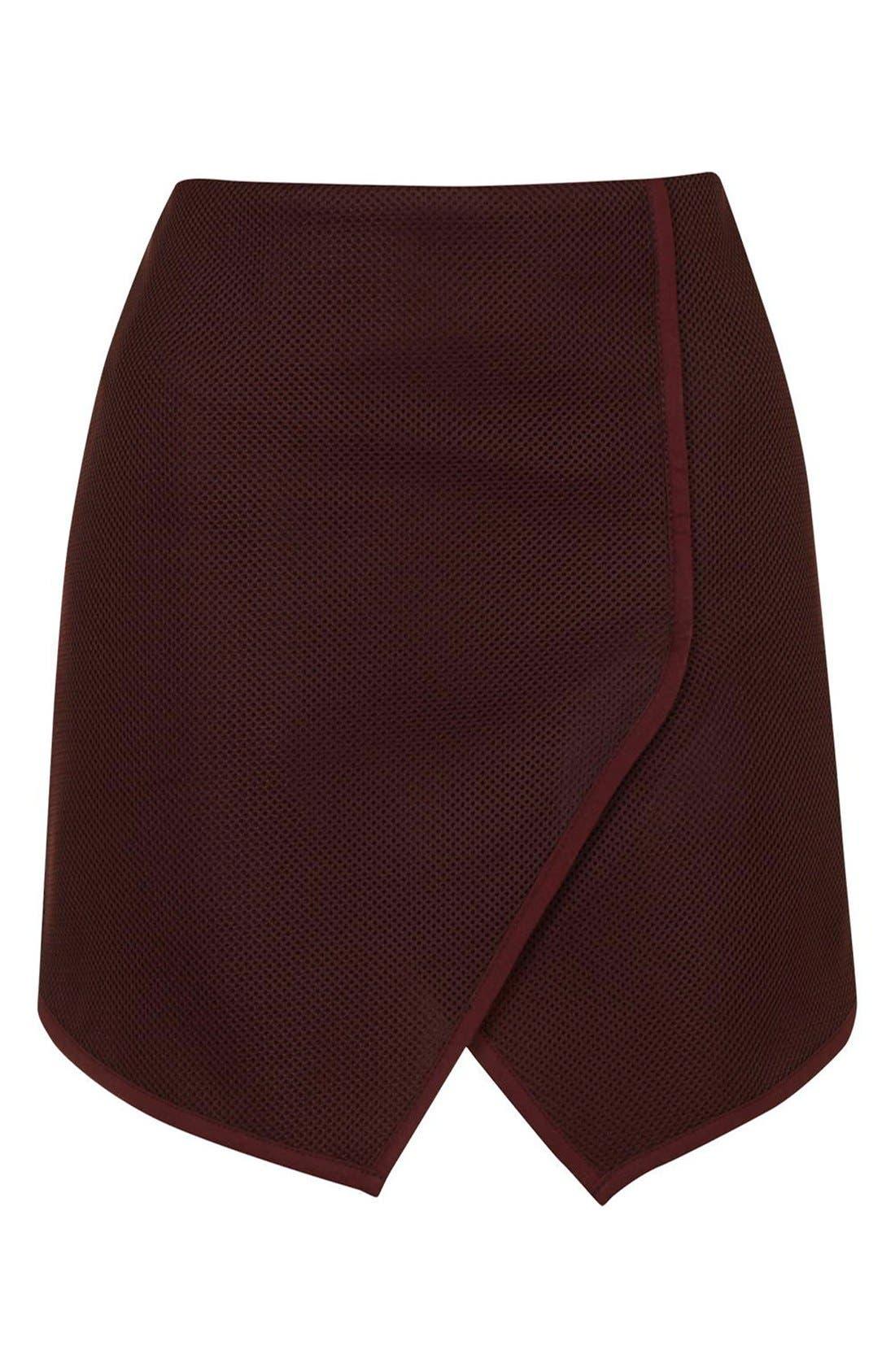 Alternate Image 4  - Topshop Angled Wrap Airtex Miniskirt