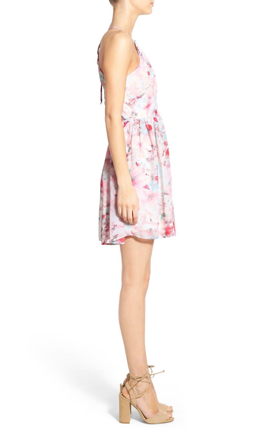 Alternate Image 3  - Trixxi Floral Print High Neck Skater Dress