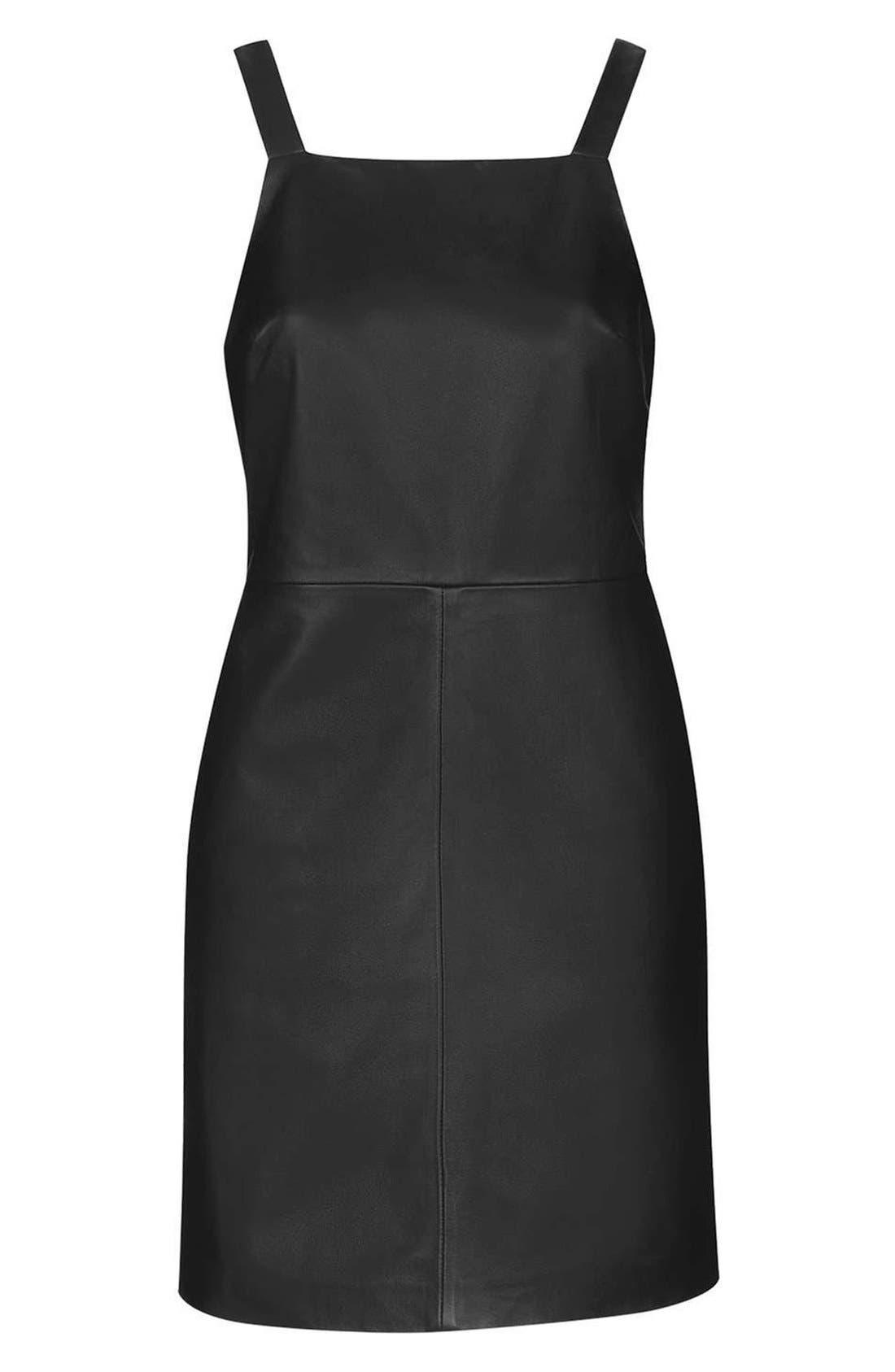 Alternate Image 4  - Topshop Boutique Leather Pinafore Dress