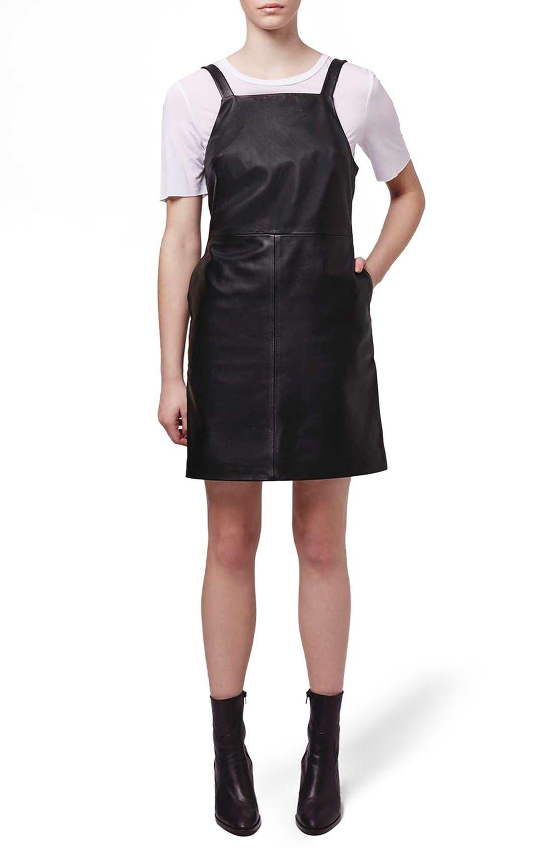Main Image - Topshop Boutique Leather Pinafore Dress