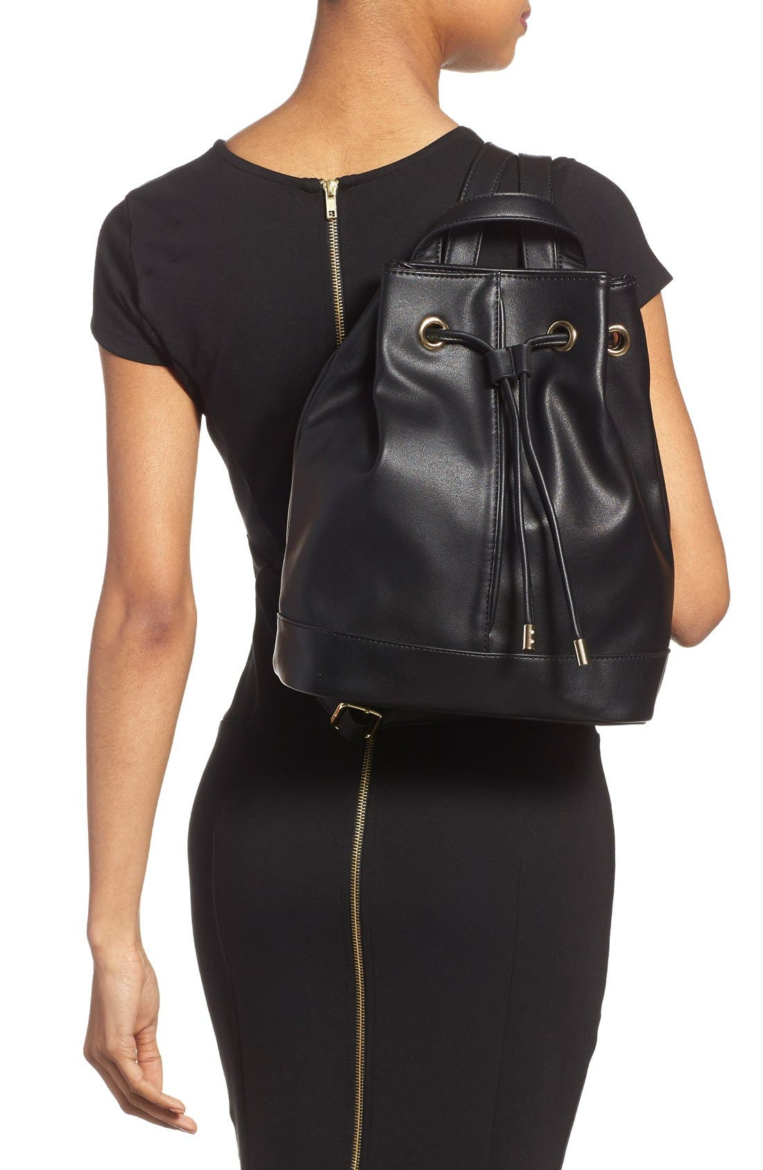 Alternate Image 3  - BP. Faux Leather Drawstring Backpack