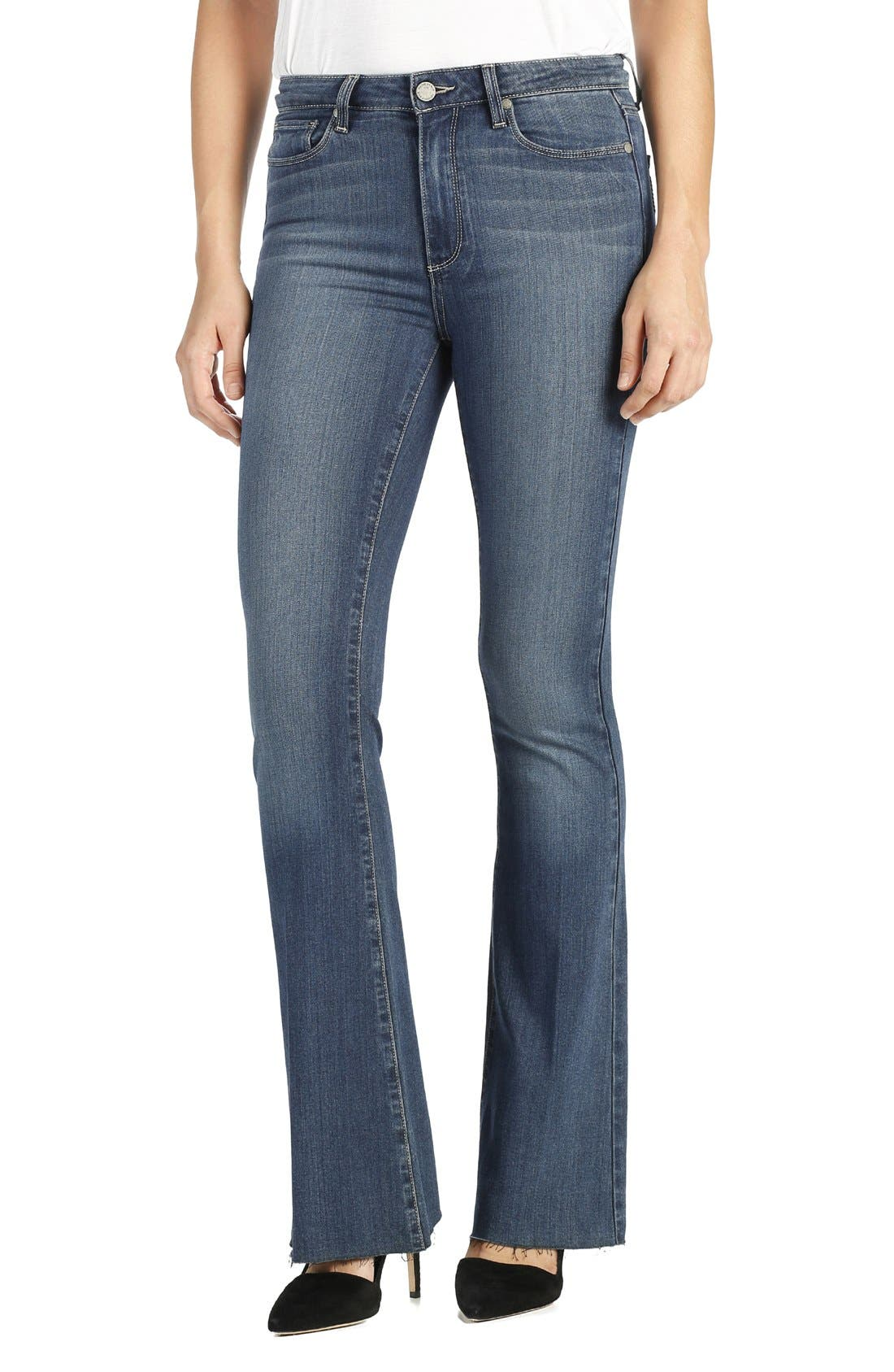 Alternate Image 1 Selected - PAIGE Transcend - Bell Canyon High Waist Raw Hem Flare Jeans (Giona)