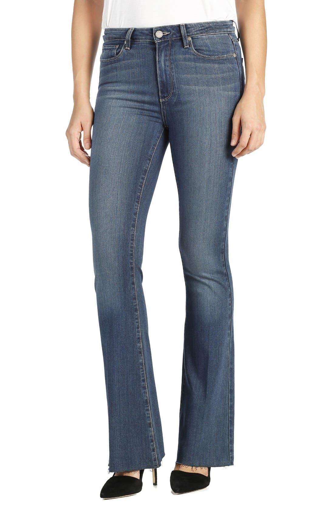 Main Image - PAIGE Transcend - Bell Canyon High Waist Raw Hem Flare Jeans (Giona)