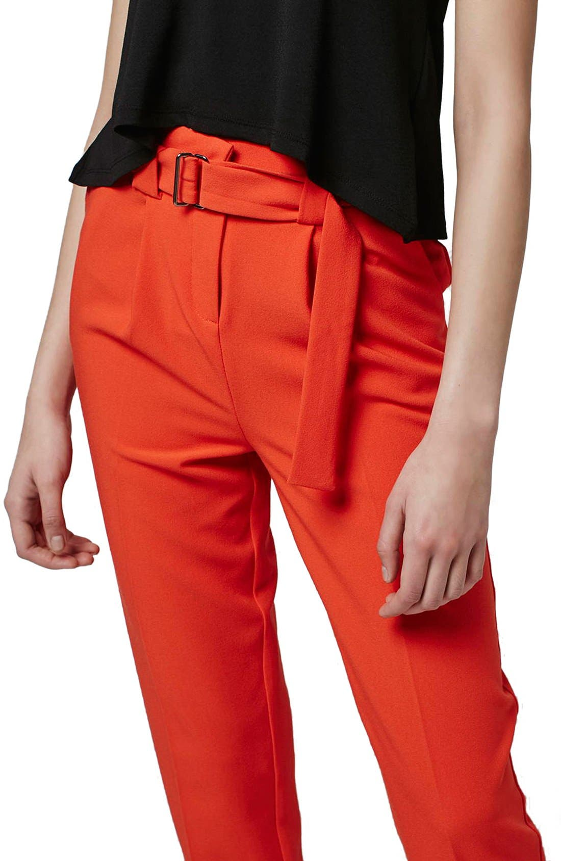 Alternate Image 5  - Topshop Belted Peg Trousers