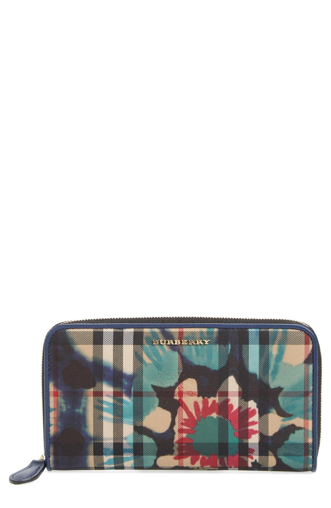 Burberry 'Porter - Printed Horseferry' Floral & Check Zip Around Wallet