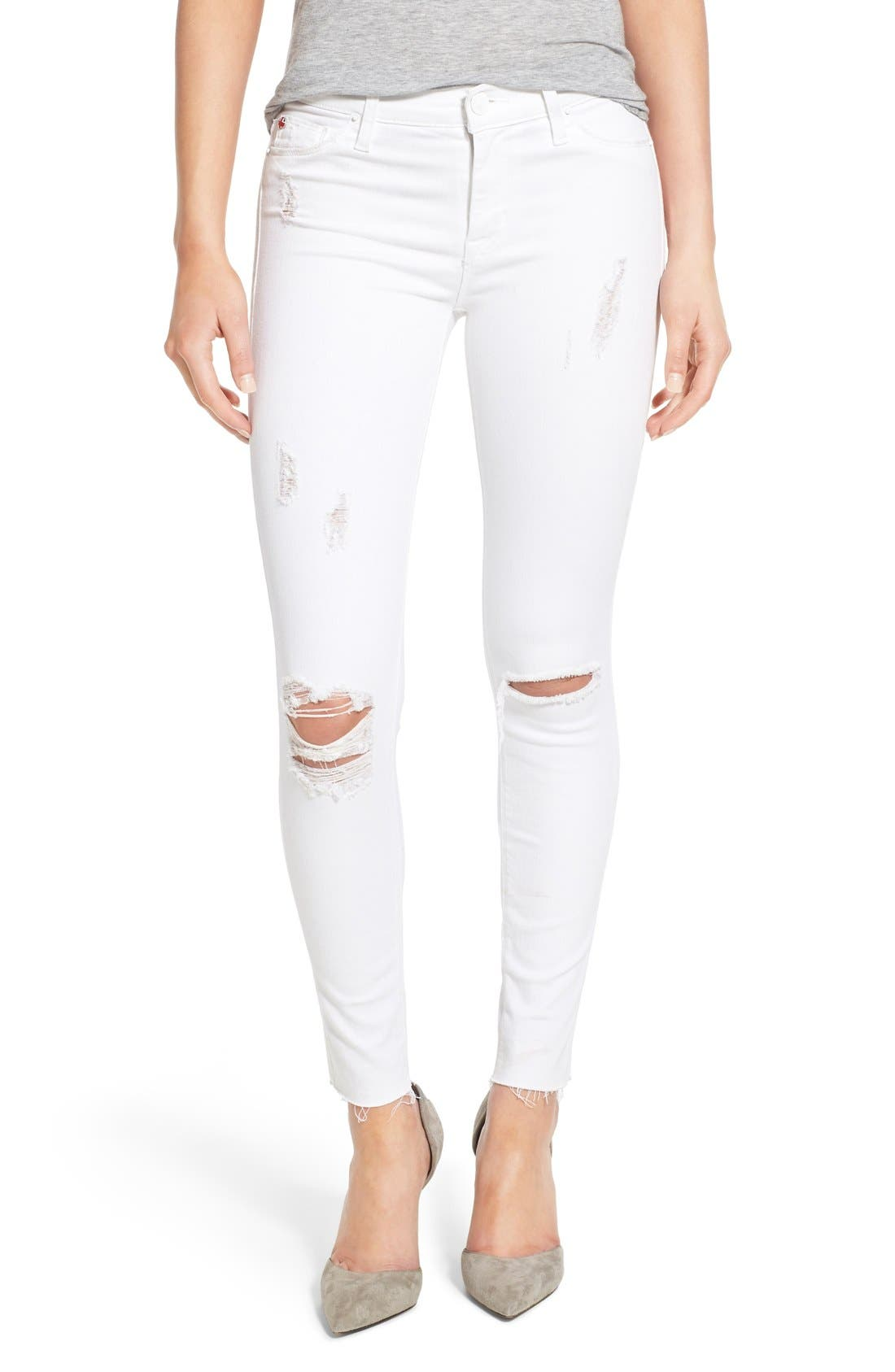 Alternate Image 1 Selected - Hudson Jeans 'Nico' Mid Rise Distressed Ankle Skinny Jeans (Dreamer)