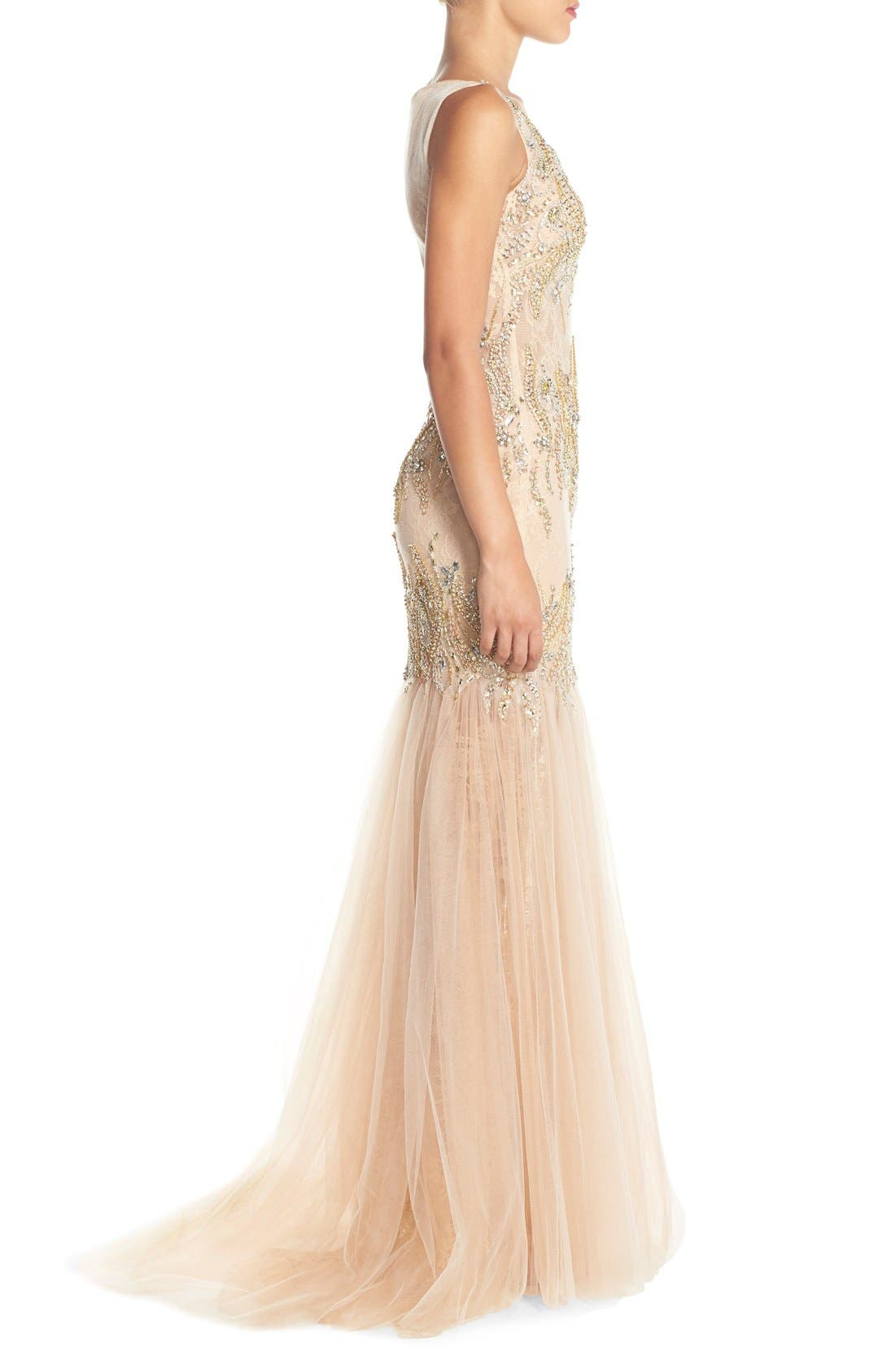 Alternate Image 3  - Terani Couture Embellished Lace Mermaid Gown