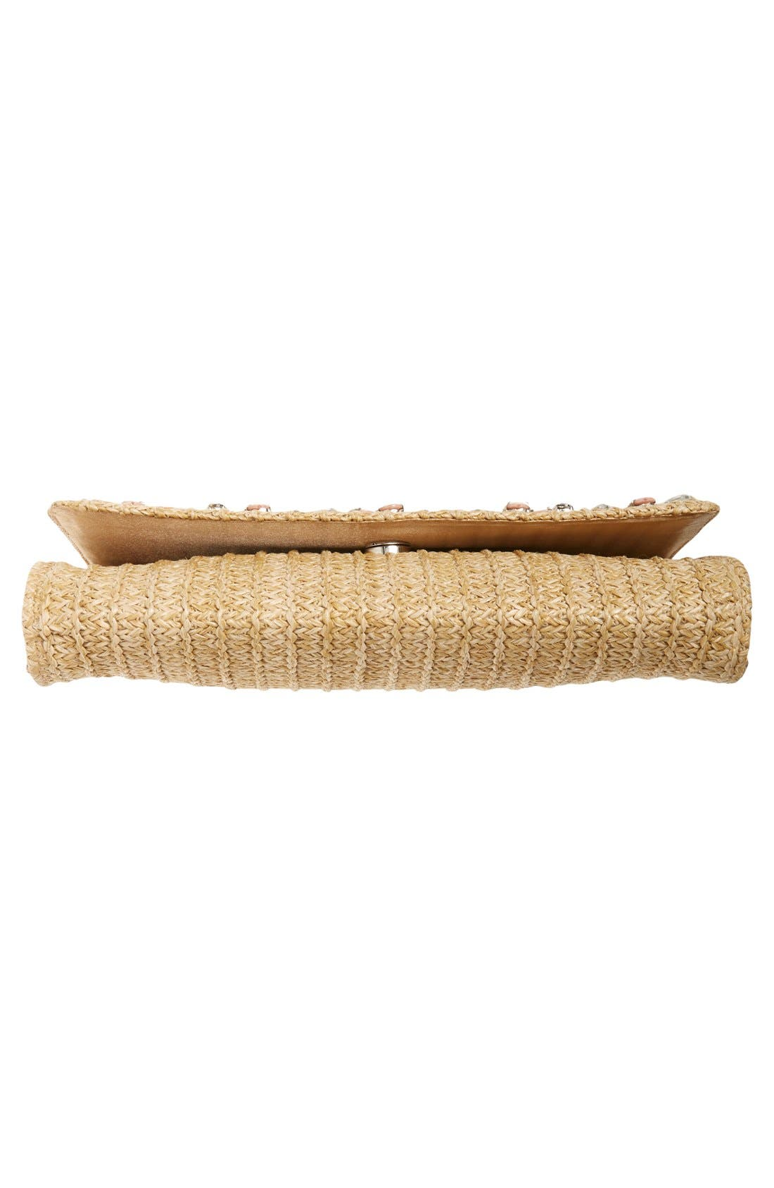 Alternate Image 6  - Glint Embellished Straw Clutch