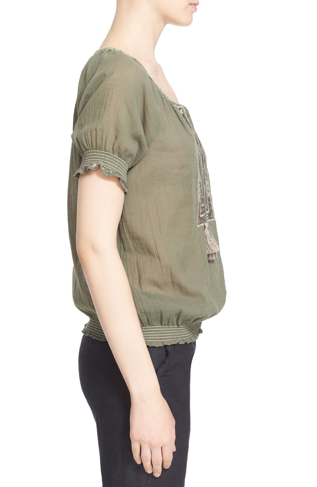 Alternate Image 3  - Joie 'Feray' Split Neck Embroidered Cotton Top
