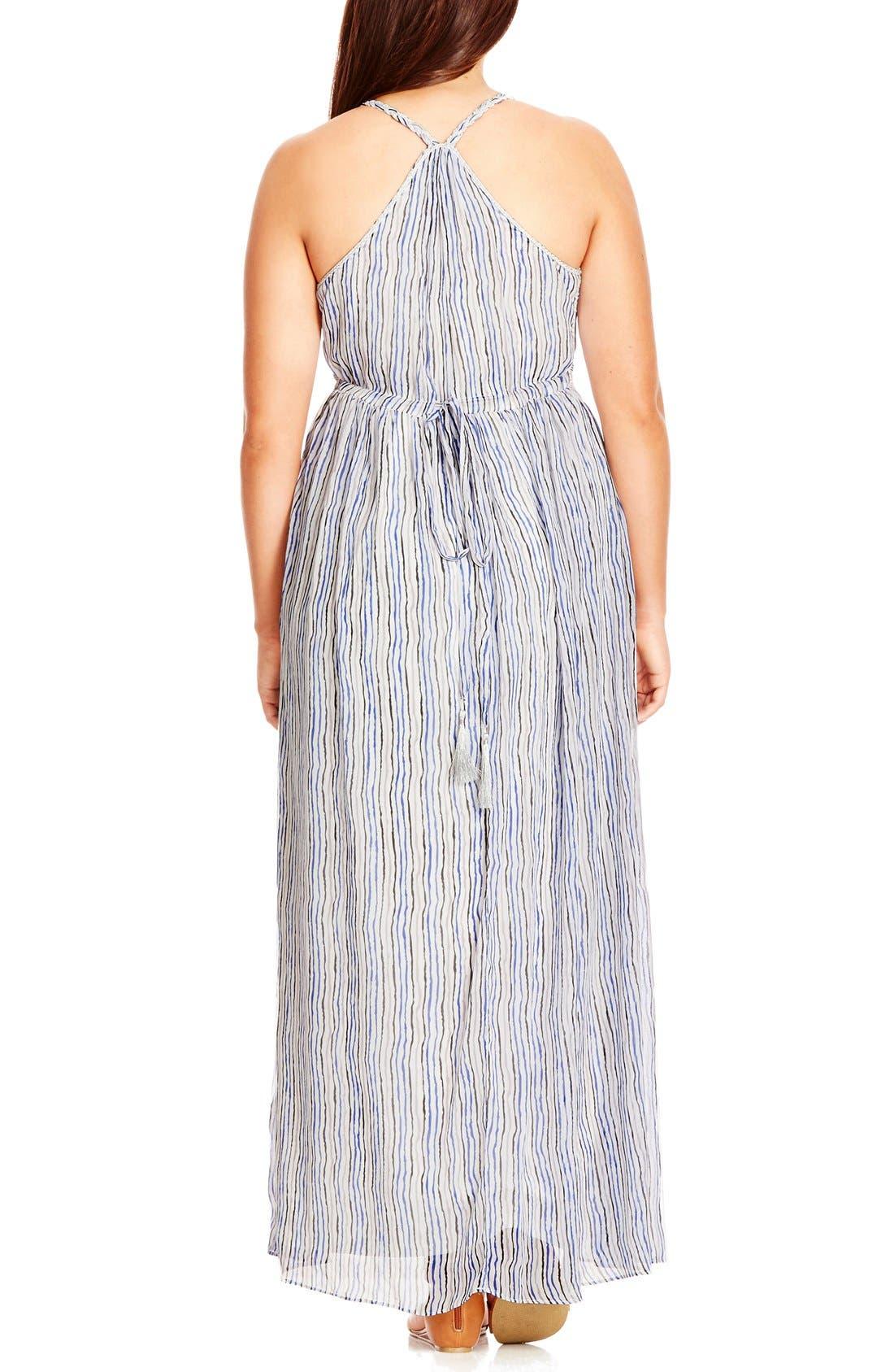 Alternate Image 2  - City Chic Metallic Plait Trim Stripe Maxi Dress (Plus Size)