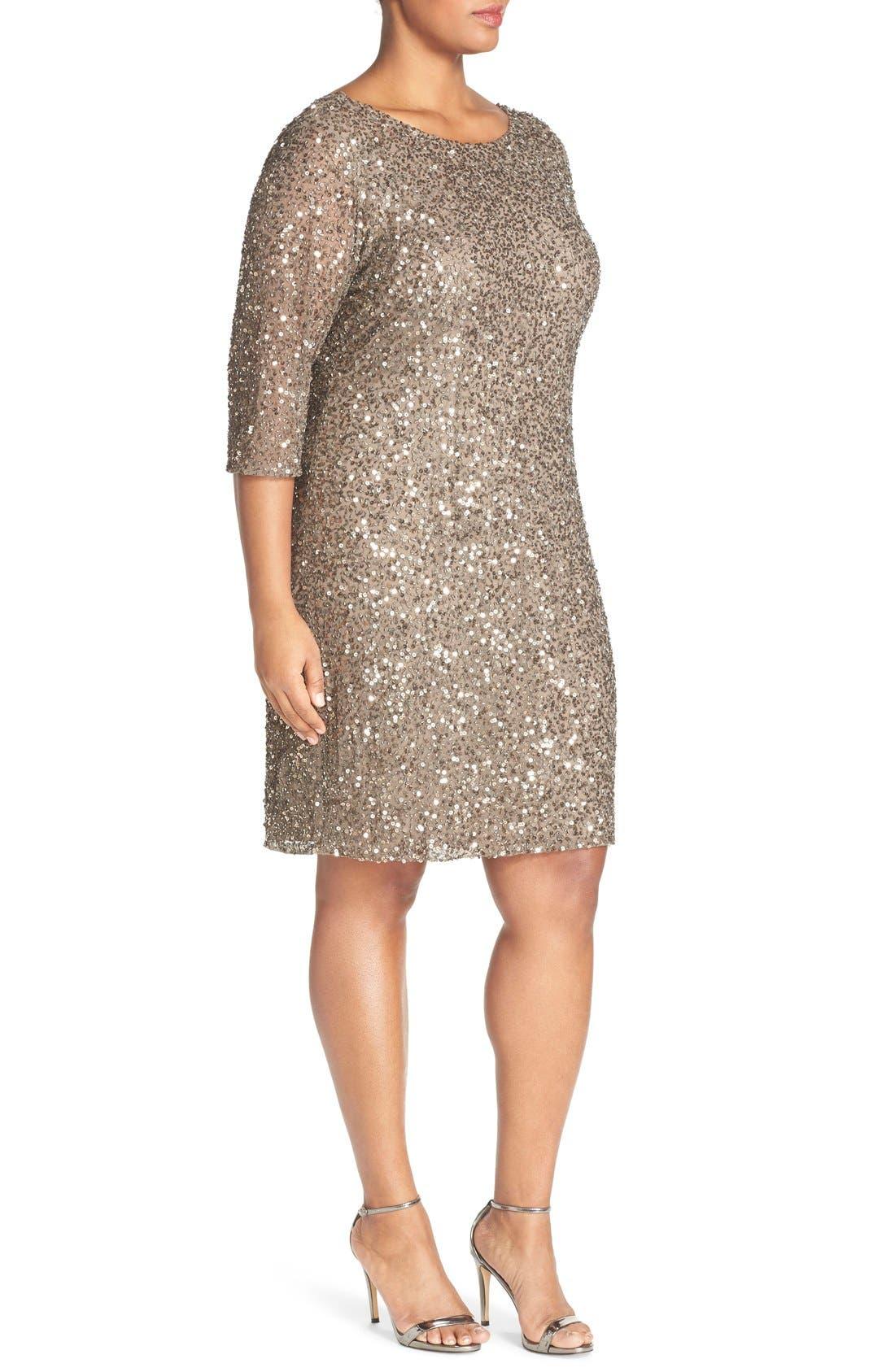 Alternate Image 4  - Pisarro Nights Draped Back Beaded Dress (Plus Size)