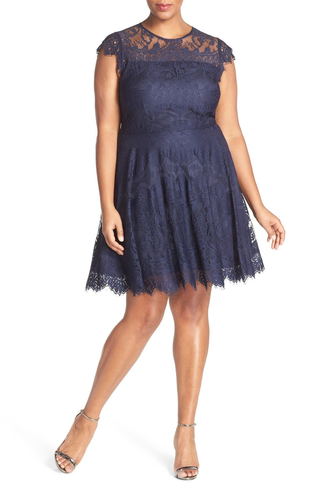 BB DAKOTA 'Rhianna' Lace Fit & Flare Dress