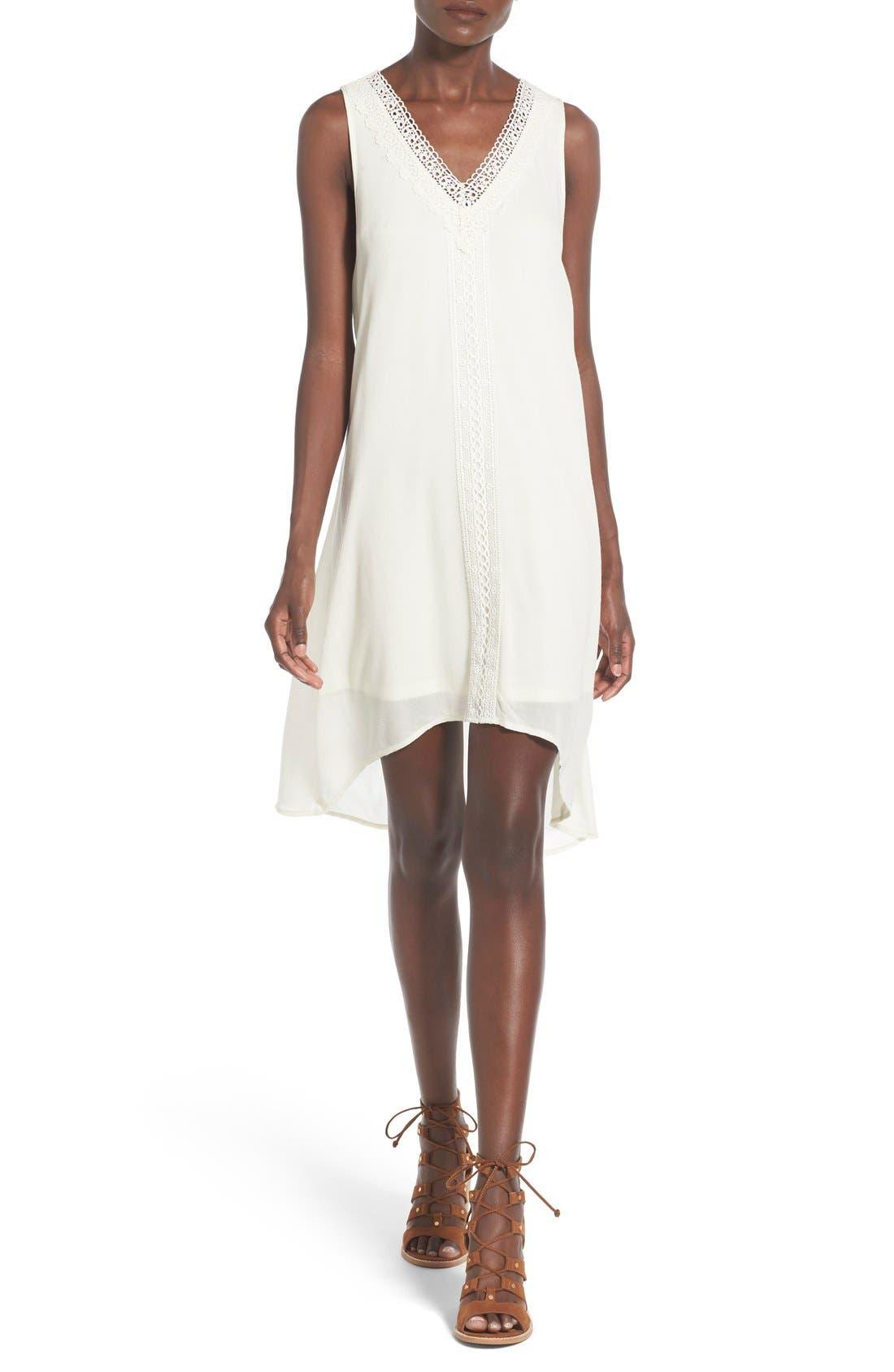 Main Image - Trixxi Crochet Trim High/Low Shift Dress