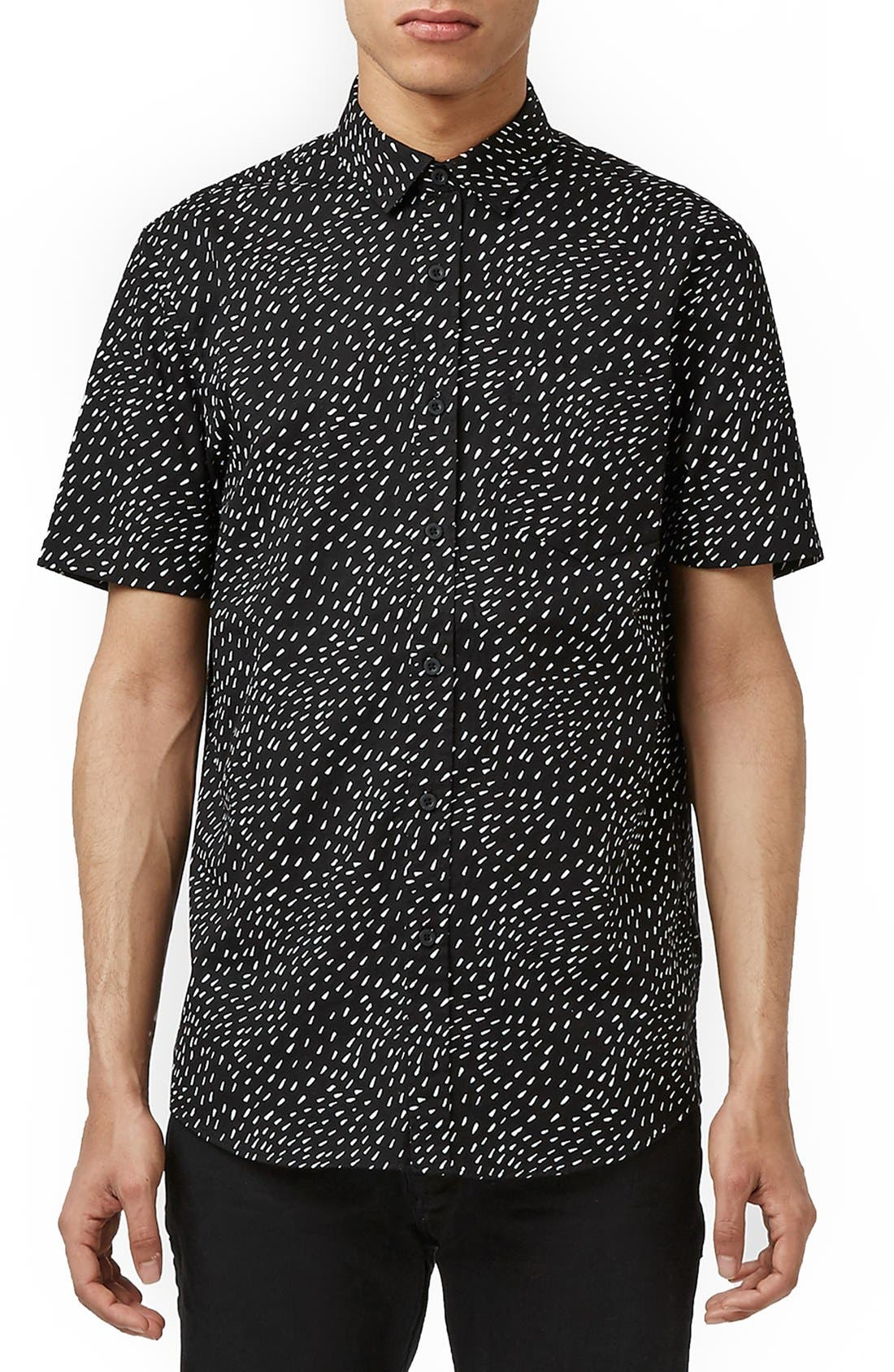 TOPMAN Slim Fit Short Sleeve Print Shirt