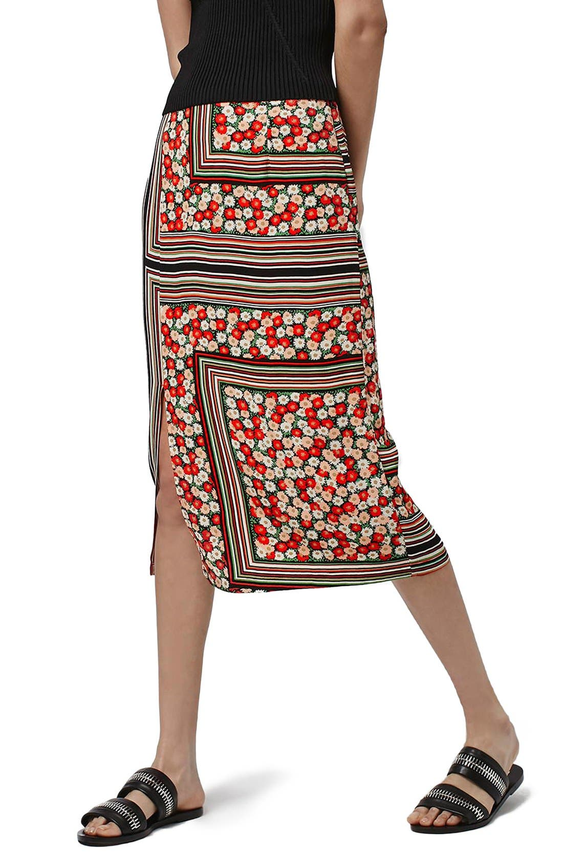 Main Image - Topshop Floral Stripe Midi Skirt