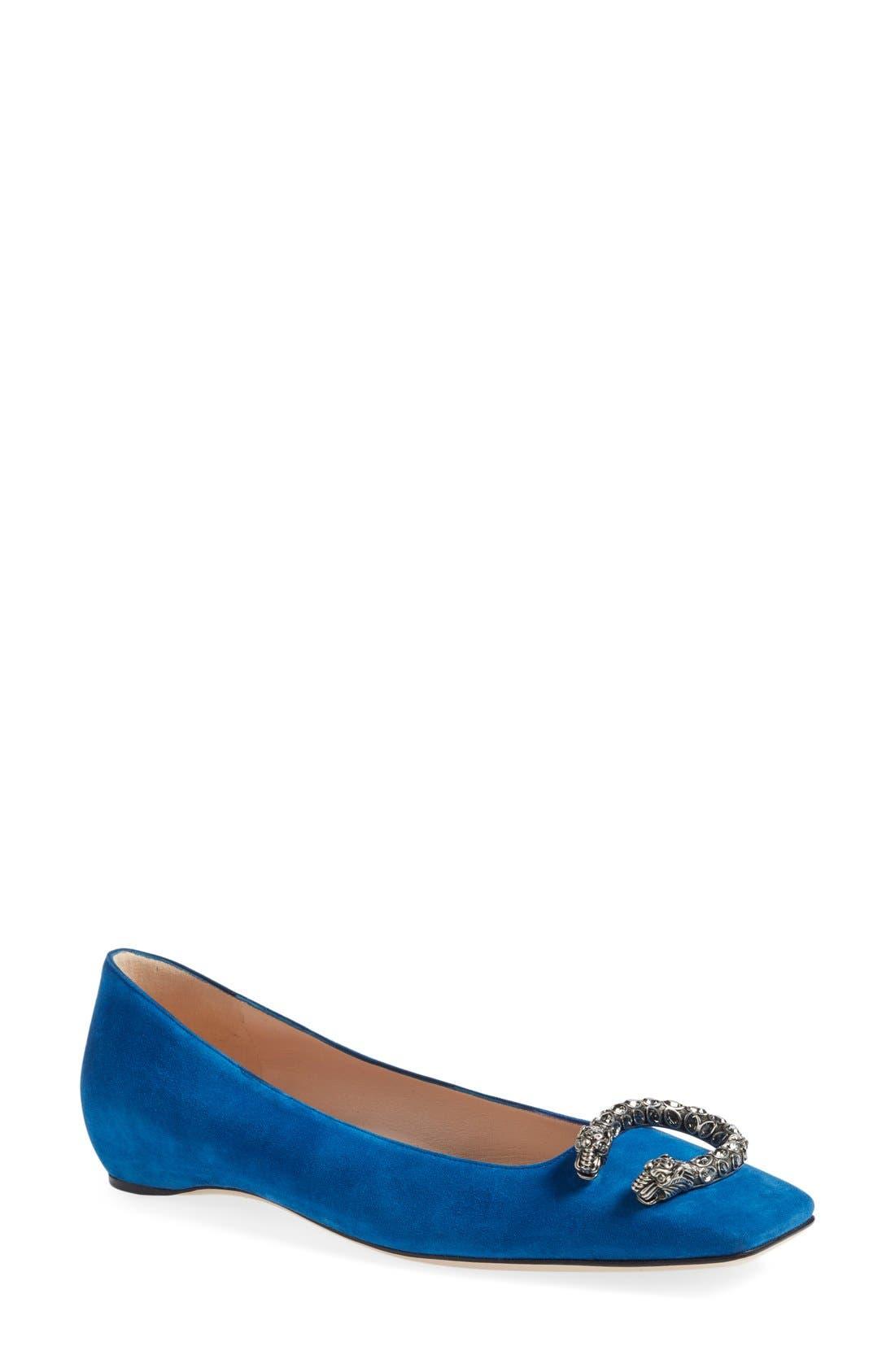 Gucci Dionysus Embellished Square Toe Flat (Women)