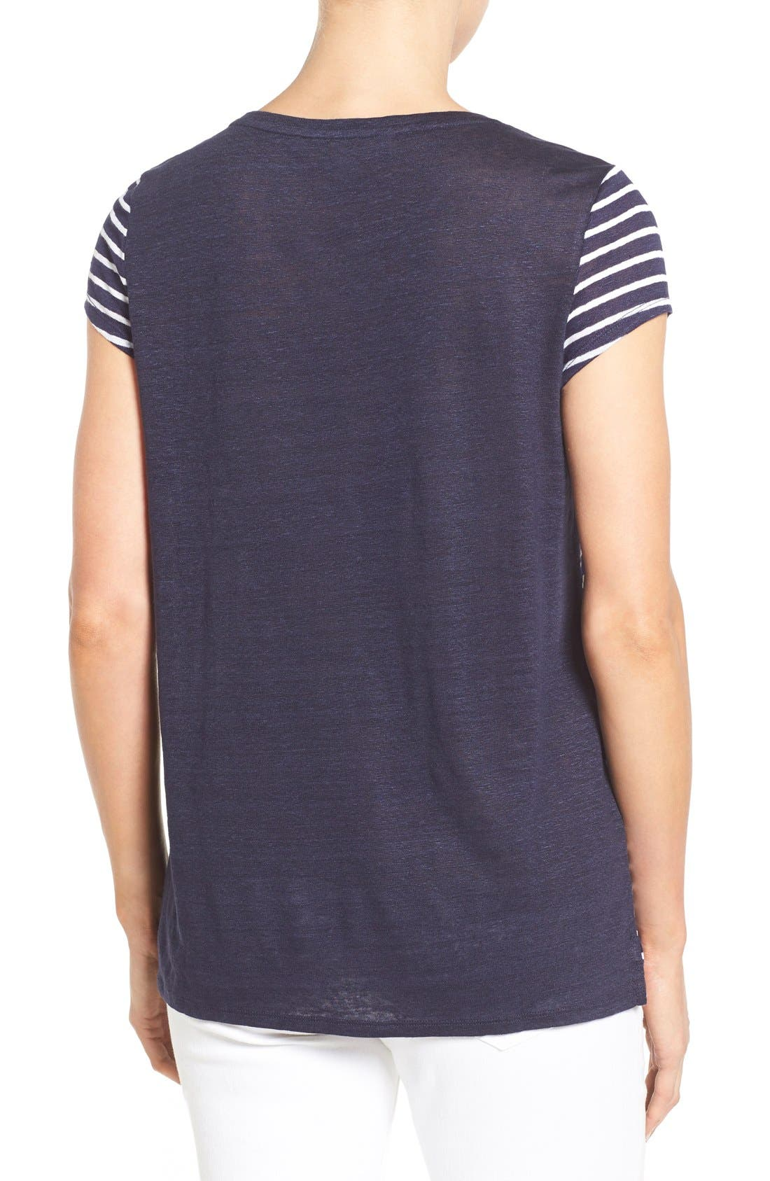 Alternate Image 2  - Nordstrom Collection Cap Sleeve Stripe Linen Tee