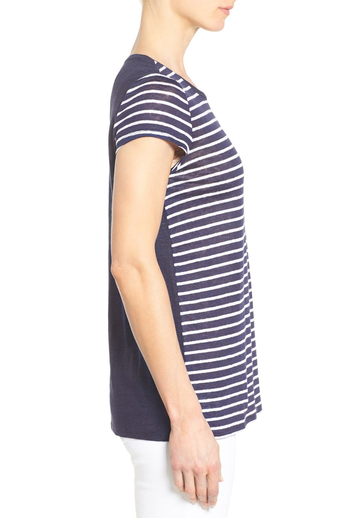 Alternate Image 3  - Nordstrom Collection Cap Sleeve Stripe Linen Tee