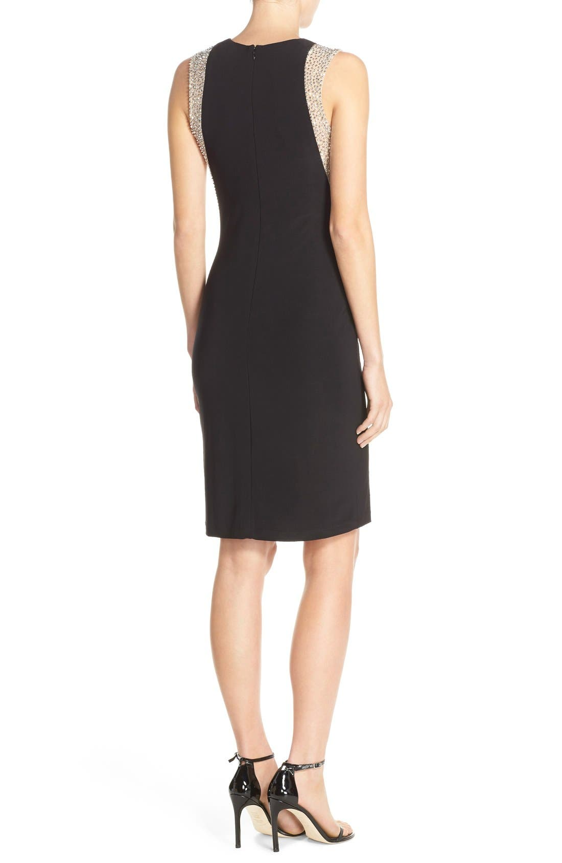 Alternate Image 2  - Xscape Beaded Mesh & Jersey Sheath Dress