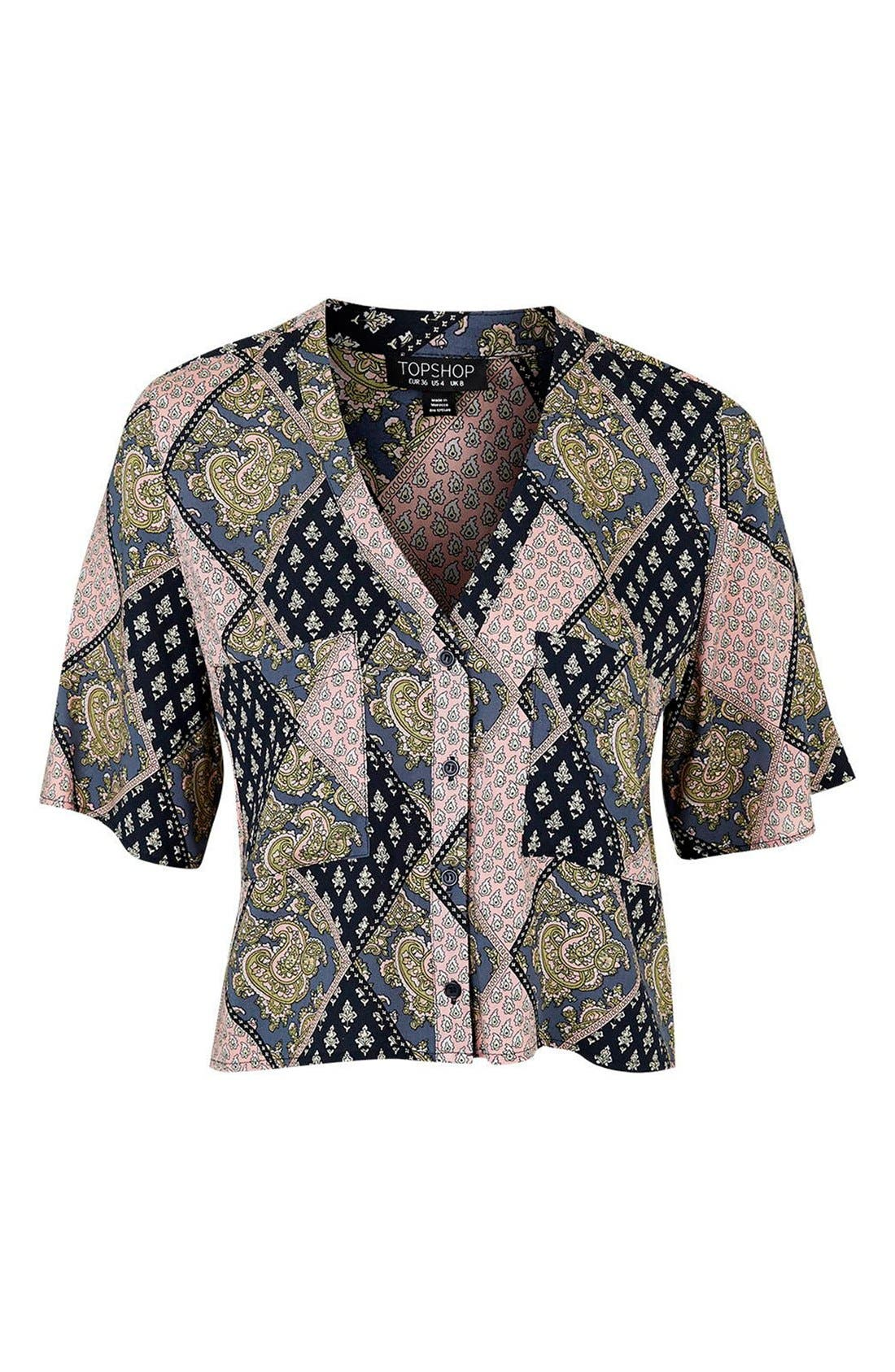 Alternate Image 4  - Topshop 'Holly' Tile Print Shirt