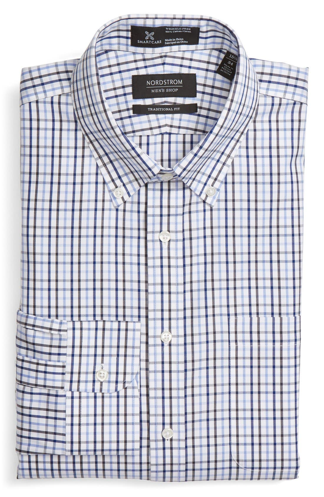 NORDSTROM MEN'S SHOP Smartcare™ Traditional Fit Plaid Dress