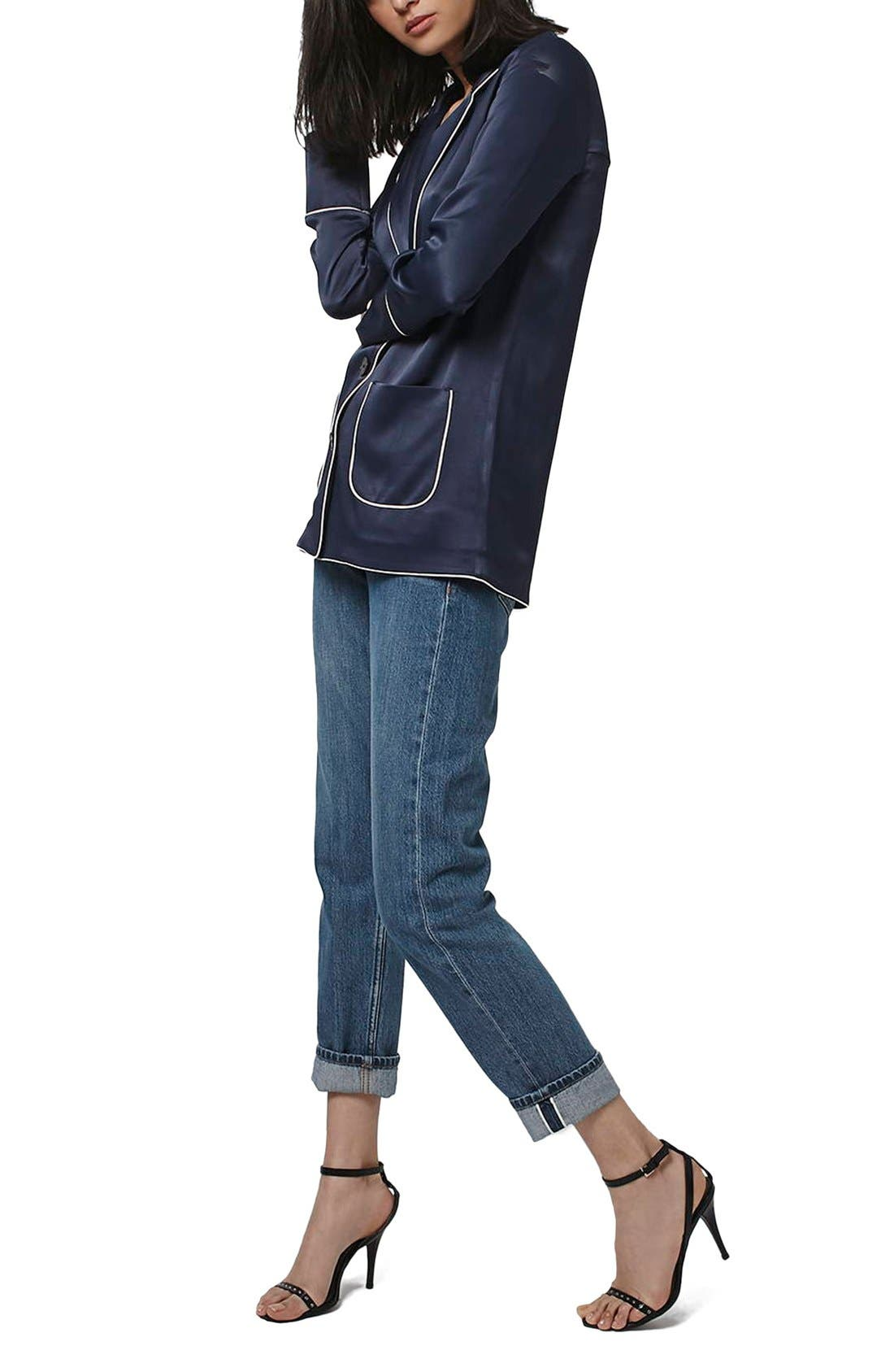 Alternate Image 2  - Topshop Satin Pajama Style Jacket