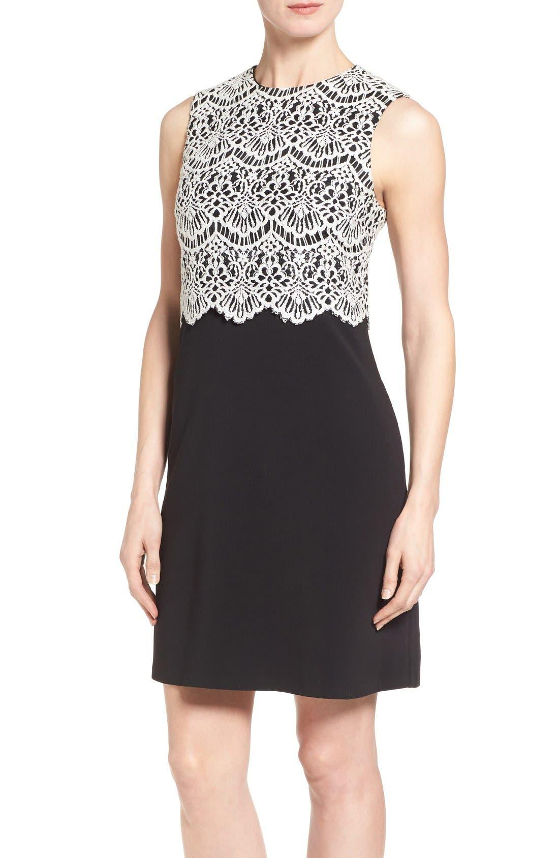 Alternate Image 4  - Halogen® Collared Lace Sheath Dress (Regular & Petite)