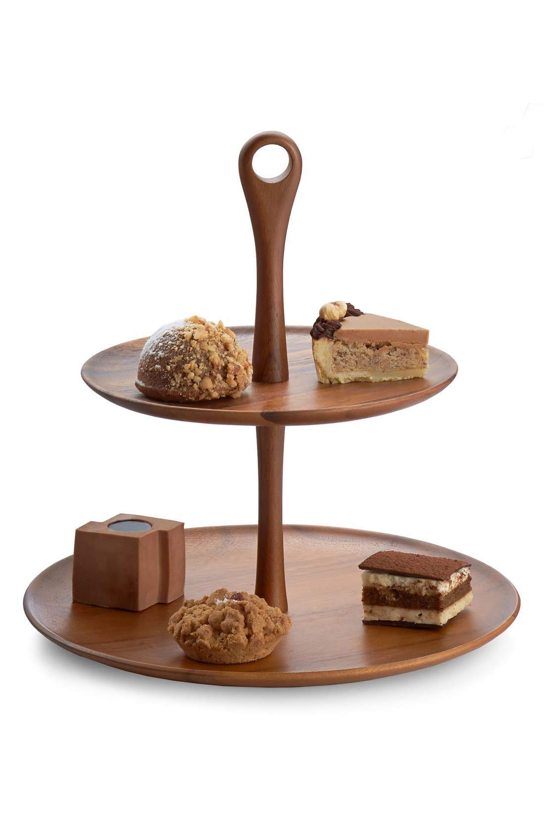Nambé 'The Skye Collection' Wood Tiered Dessert Stand