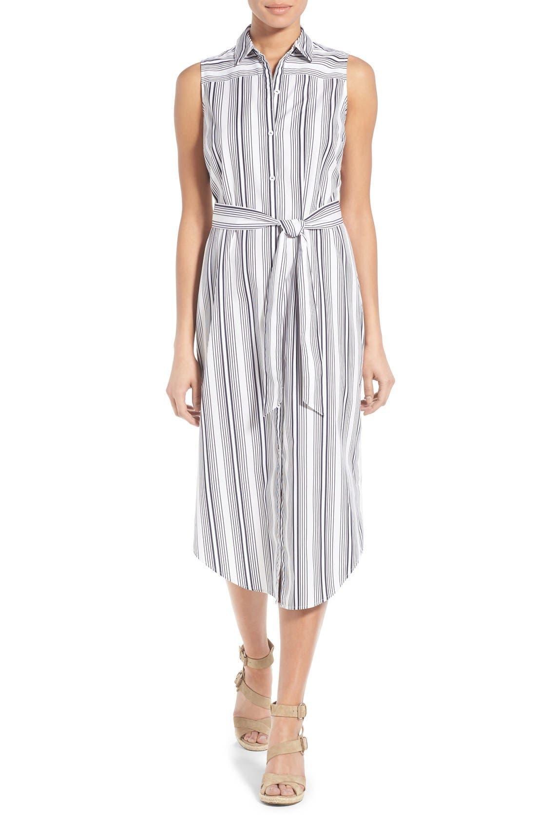 Main Image - Foxcroft Stripe Non-Iron Cotton Sleeveless Maxi Shirtdress (Regular & Petite)
